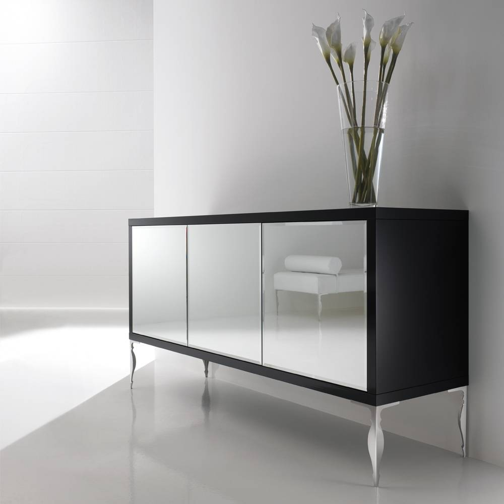 Sideboards. Astounding Mirrored Sideboard: Mirrored-Sideboard in Black and Silver Sideboards (Image 21 of 30)