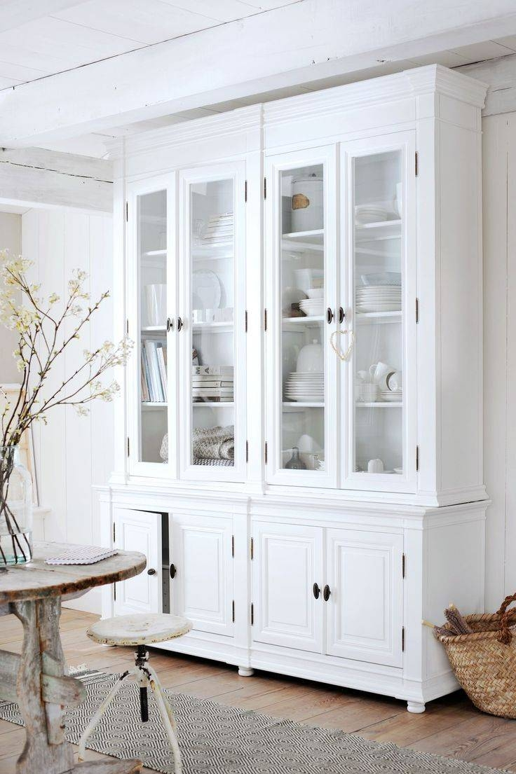 Sideboards. Astounding White Hutch With Glass Doors: White-Hutch in White Glass Sideboards (Image 24 of 30)
