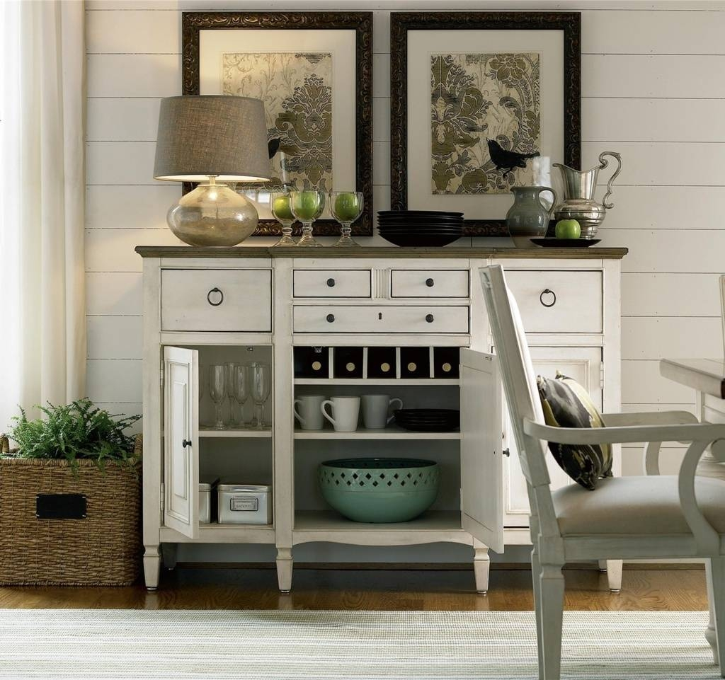 Sideboards. Awesome Buffet Server Cabinet: Buffet-Server-Cabinet in White Sideboards With Wine Rack (Image 17 of 30)
