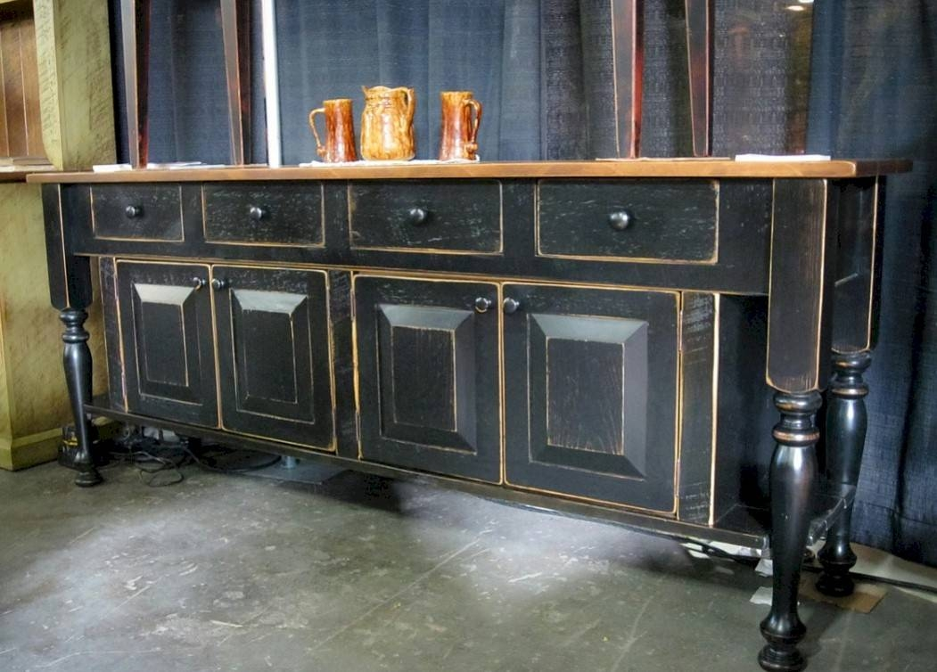 Sideboards. Awesome Buffet Side Board: Buffet-Side-Board-Antique with Glass Top Sideboards (Image 24 of 30)