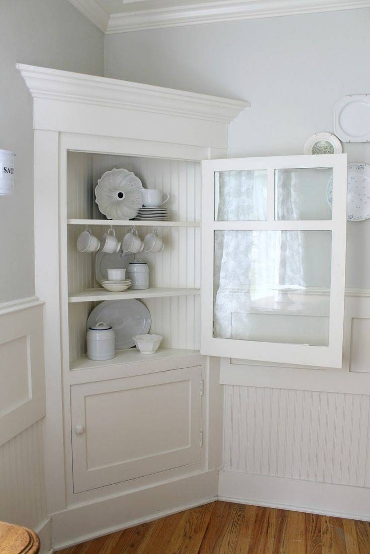Sideboards. Awesome White Corner Hutch For Dining Room: Curio in Corner Sideboard Units (Image 24 of 30)