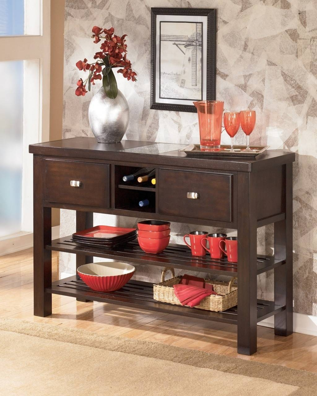 Sideboards. Extraordinary Oak Buffet Server: Oak-Buffet-Server in Oak Sideboards With Wine Rack (Image 20 of 30)