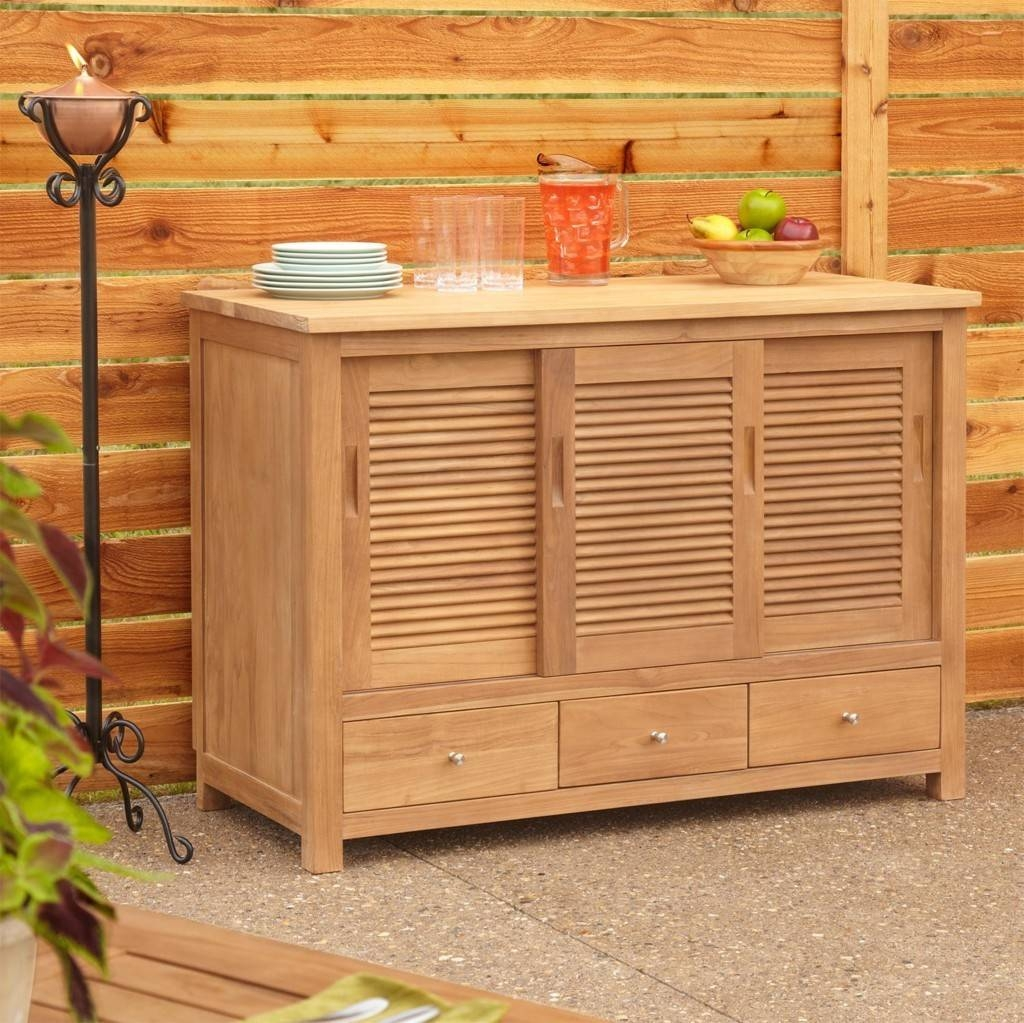 Sideboards. Glamorous Outdoor Sideboard Cabinet: Outdoor-Sideboard in Light Wood Sideboards (Image 27 of 30)