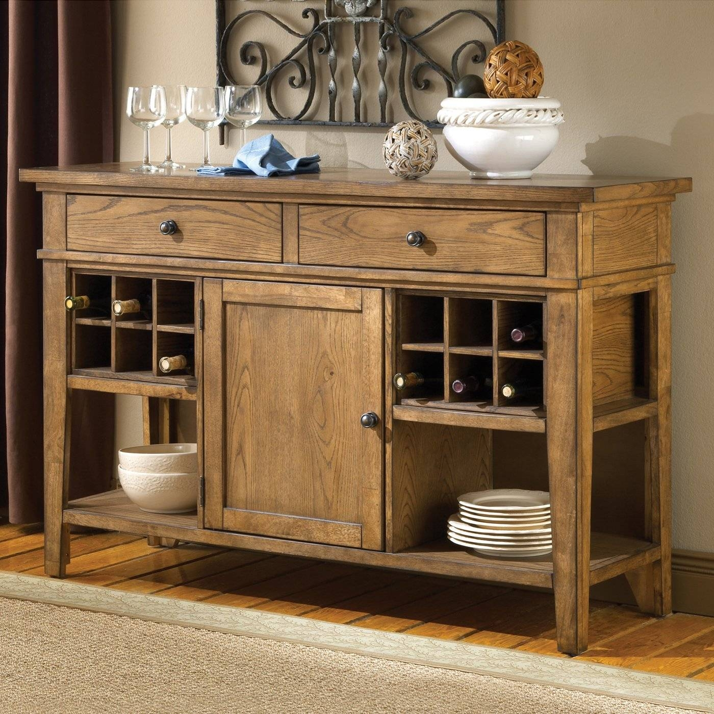 Sideboards. Glamorous Sideboard With Wine Storage: Sideboard-With pertaining to Dark Brown Sideboards (Image 25 of 30)