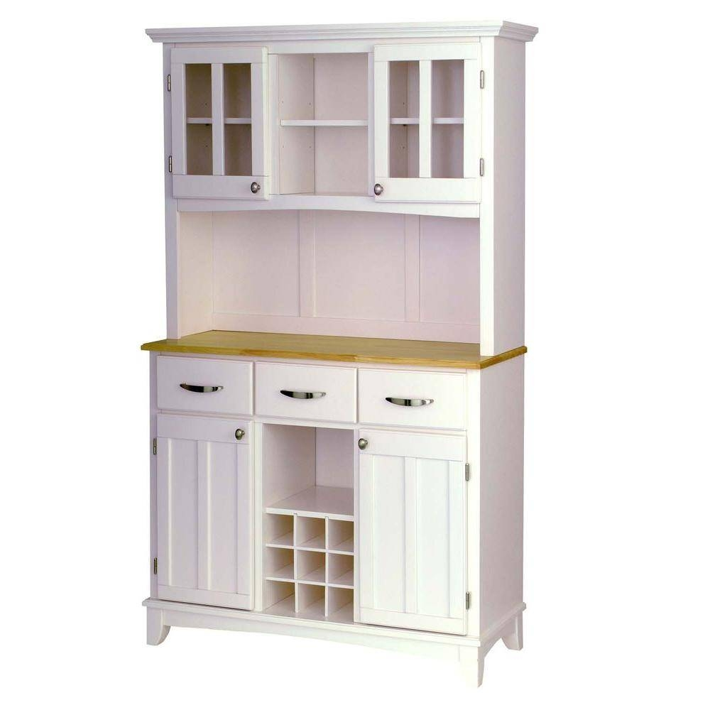 Sideboards. Glamorous White Kitchen Hutch Cabinet: White-Kitchen for White Glass Sideboards (Image 25 of 30)
