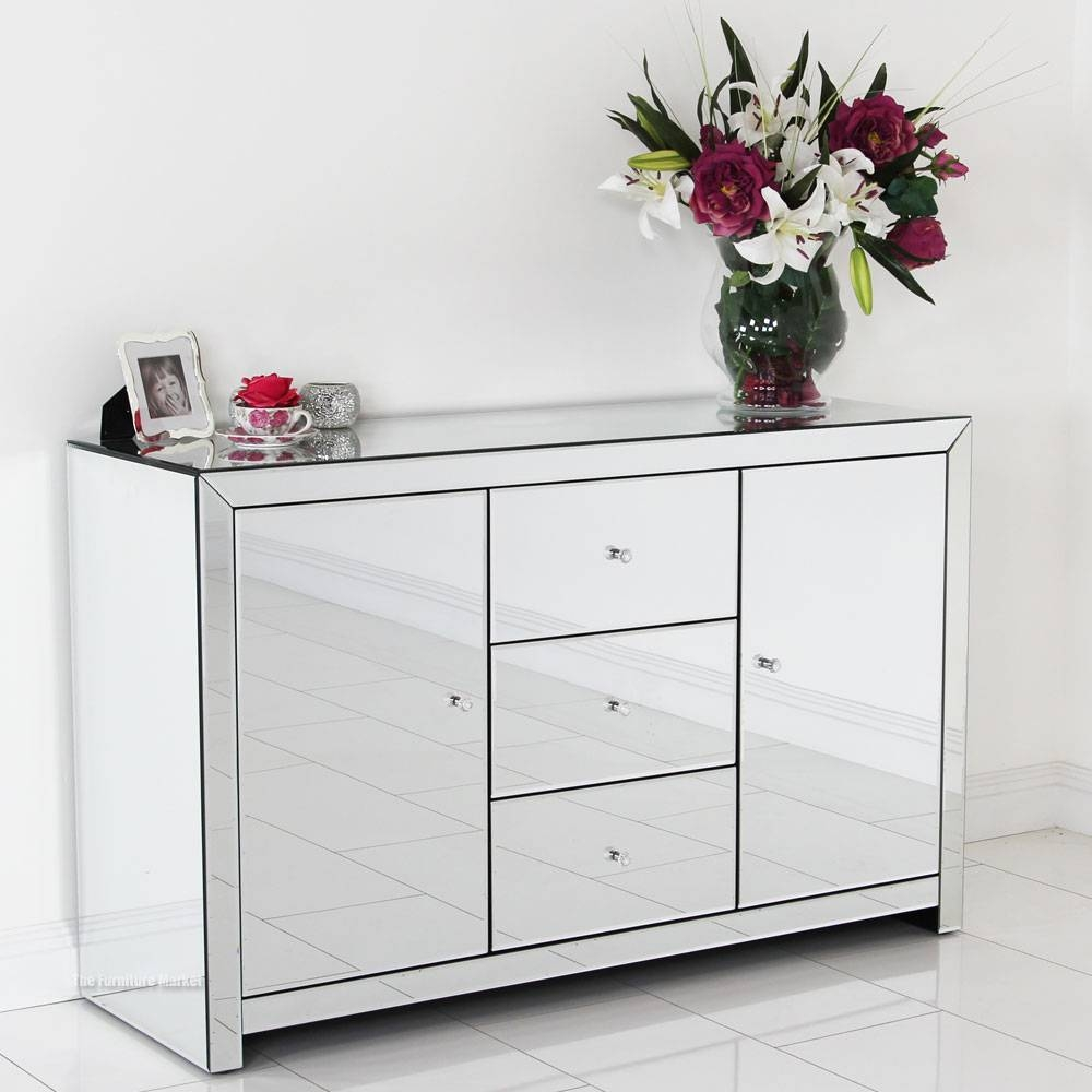Sideboards. Glamorous White Mirrored Credenza: White-Mirrored within Venetian Sideboard Mirrors (Image 19 of 25)