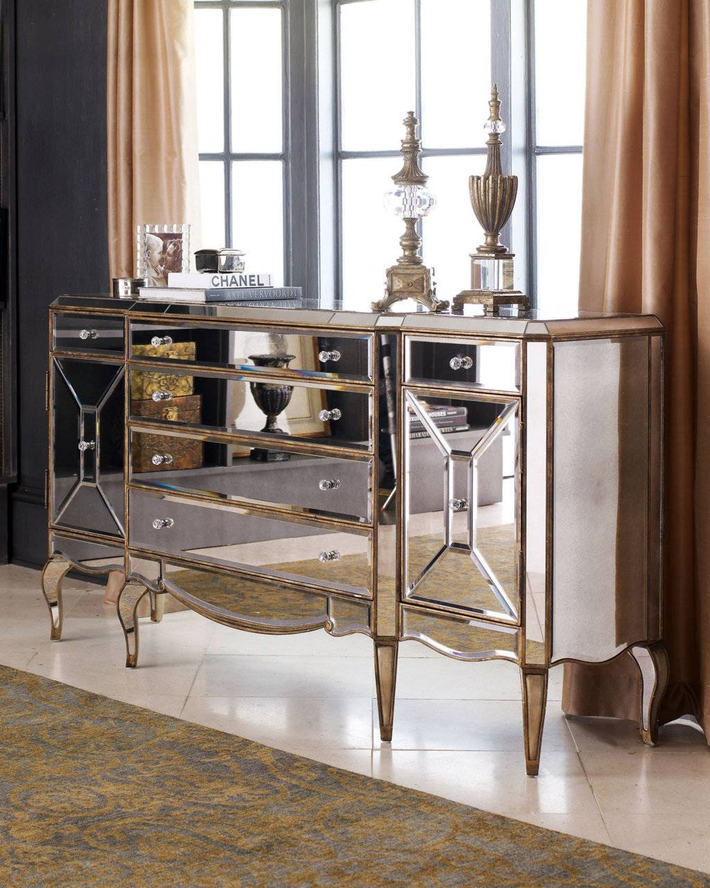 Sideboards. Inspiring Mirrored Buffet Console Table: Mirrored in Mirrored Sideboard Furniture (Image 23 of 30)