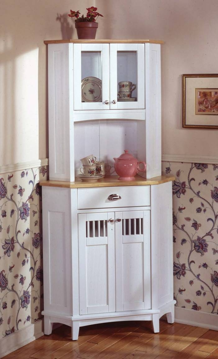 Sideboards. Inspiring White Kitchen Hutch: White-Kitchen-Hutch pertaining to Narrow White Sideboards (Image 22 of 30)