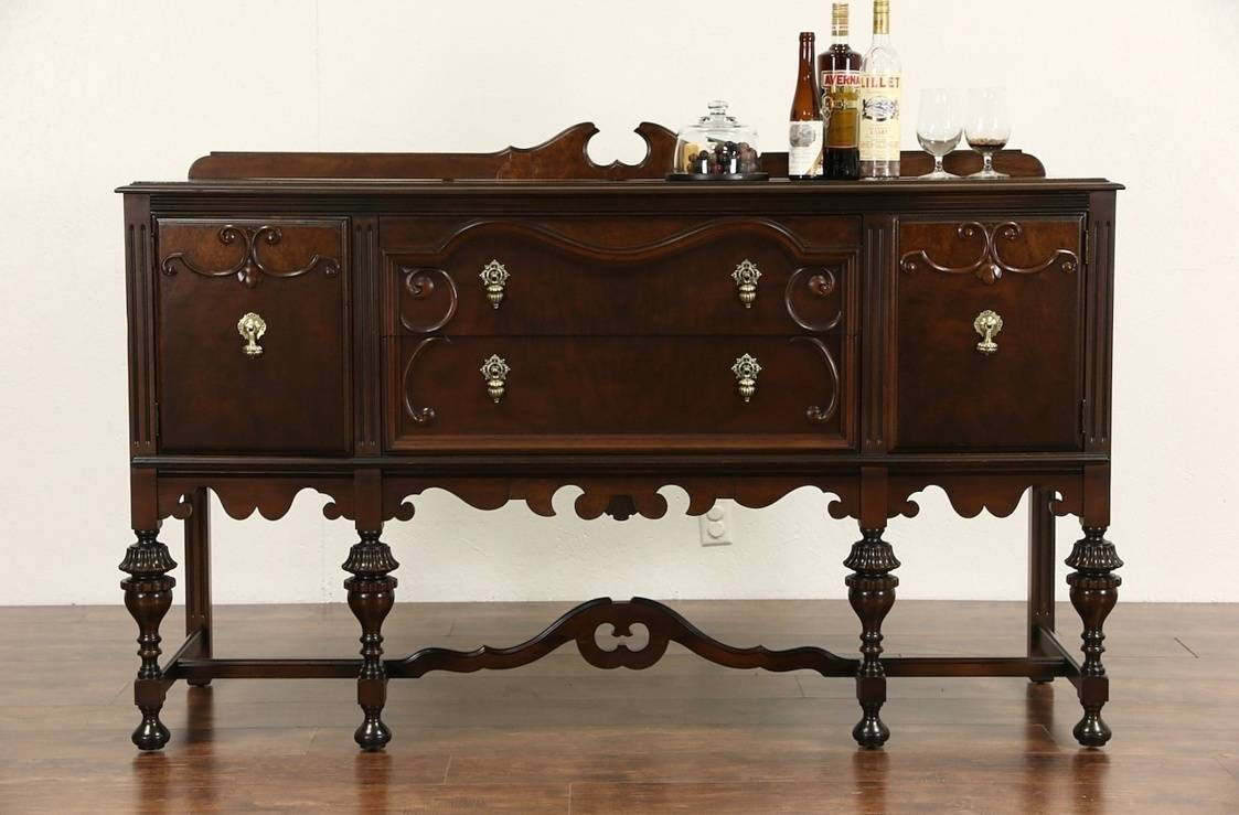Sideboards. Marvellous Walnut Buffet: Walnut-Buffet-Walnut-Buffet within Walnut And Black Sideboards (Image 24 of 30)