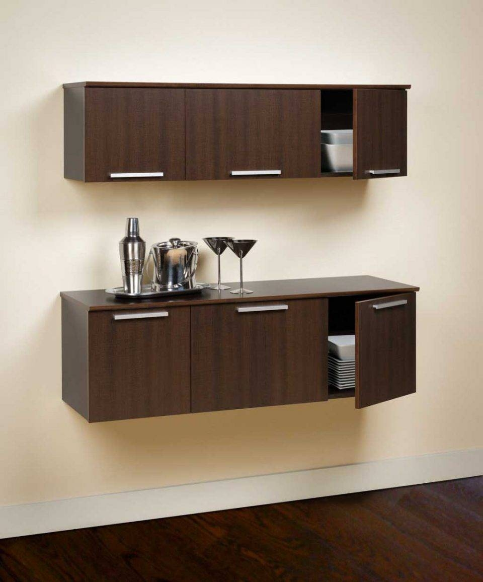 Sideboards. Outstanding Floating Buffet Cabinet: Floating-Buffet inside Small Dark Wood Sideboards (Image 23 of 30)