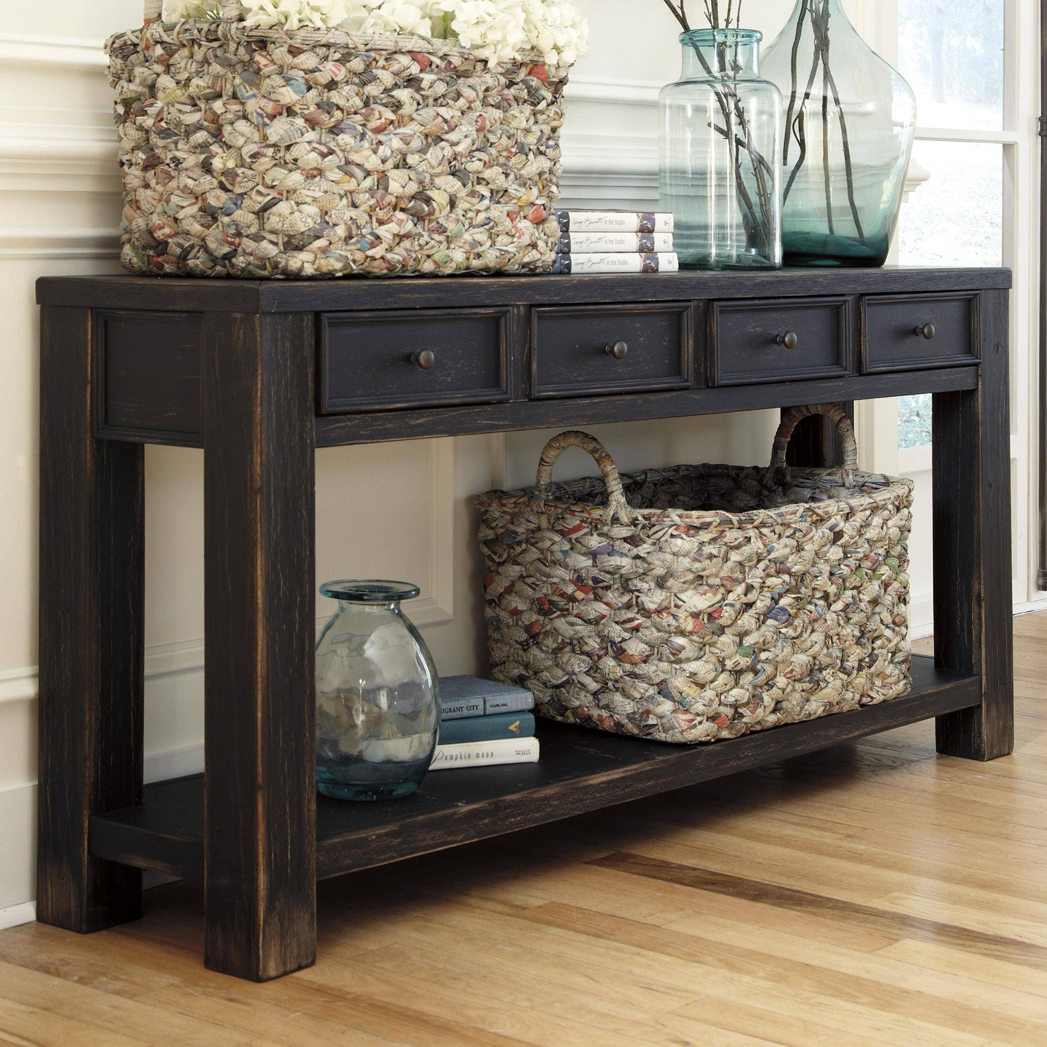 Signature Designashley Baker Distressed Black Sofa Table With in Sofa Table Drawers (Image 18 of 30)