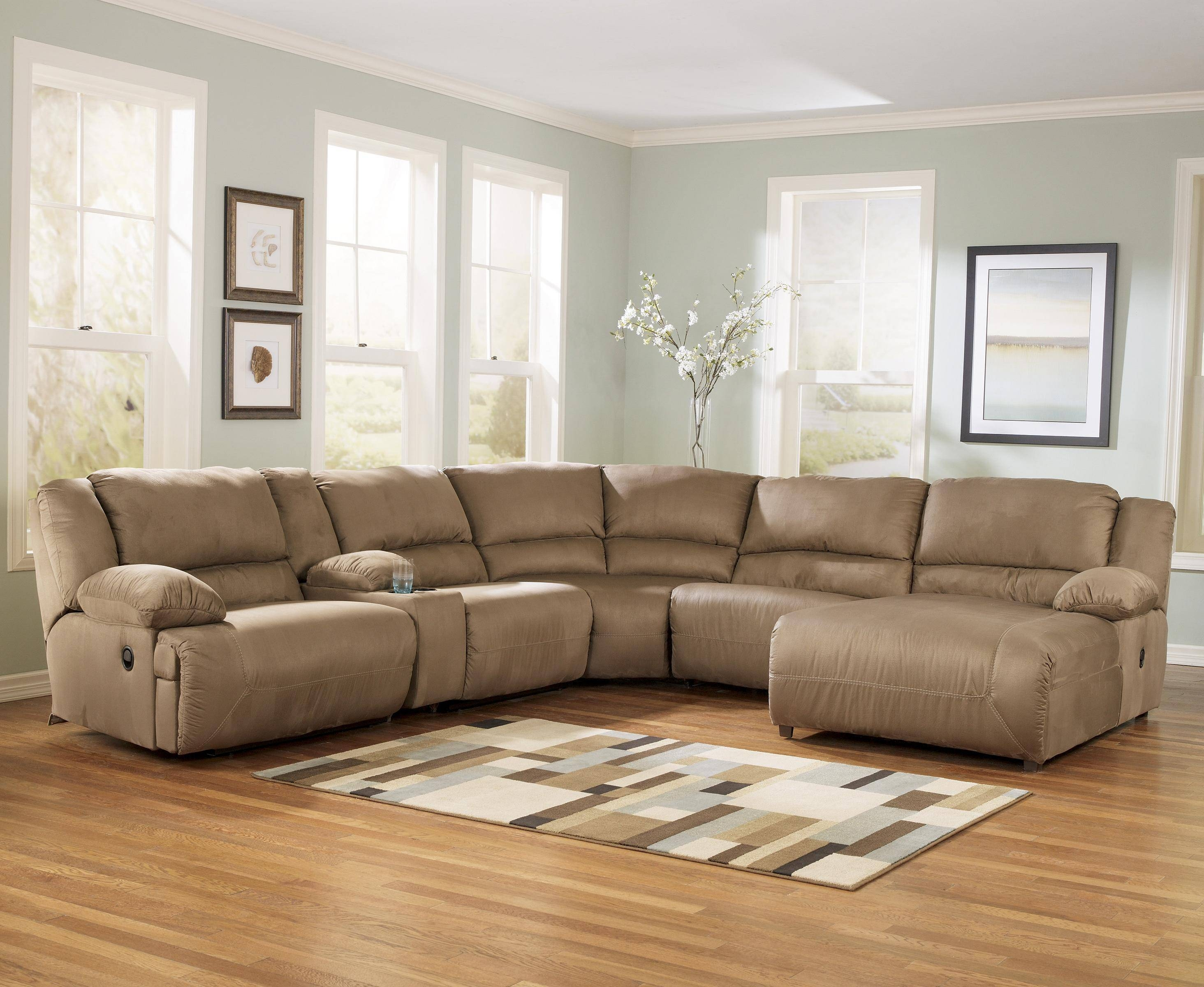 Signature Designashley Hogan - Mocha 6 Piece Motion Sectional in Motion Sectional Sofas (Image 21 of 30)