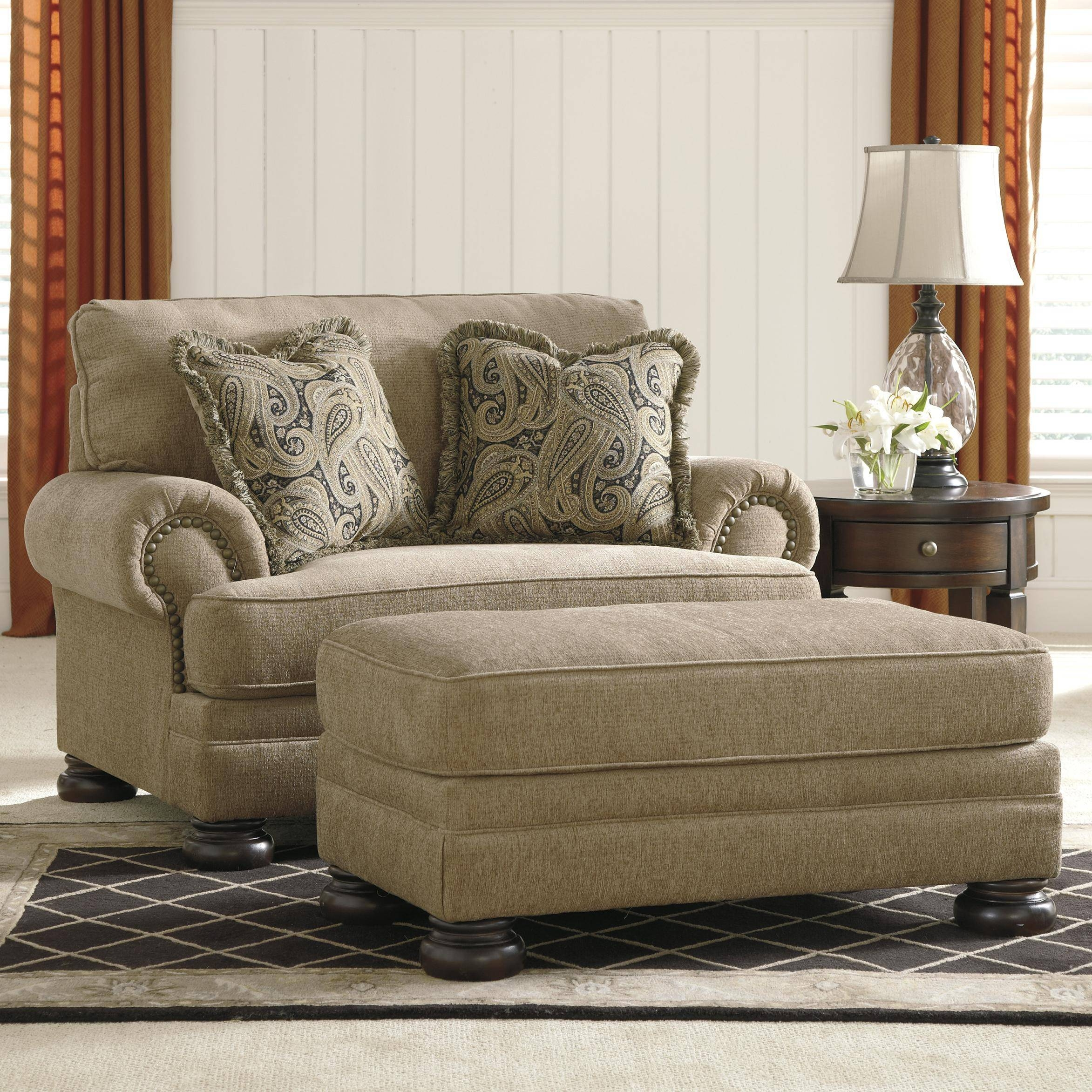 Signature Designashley Keereel - Sand Transitional Chair And A regarding Sofa Chair With Ottoman (Image 25 of 30)