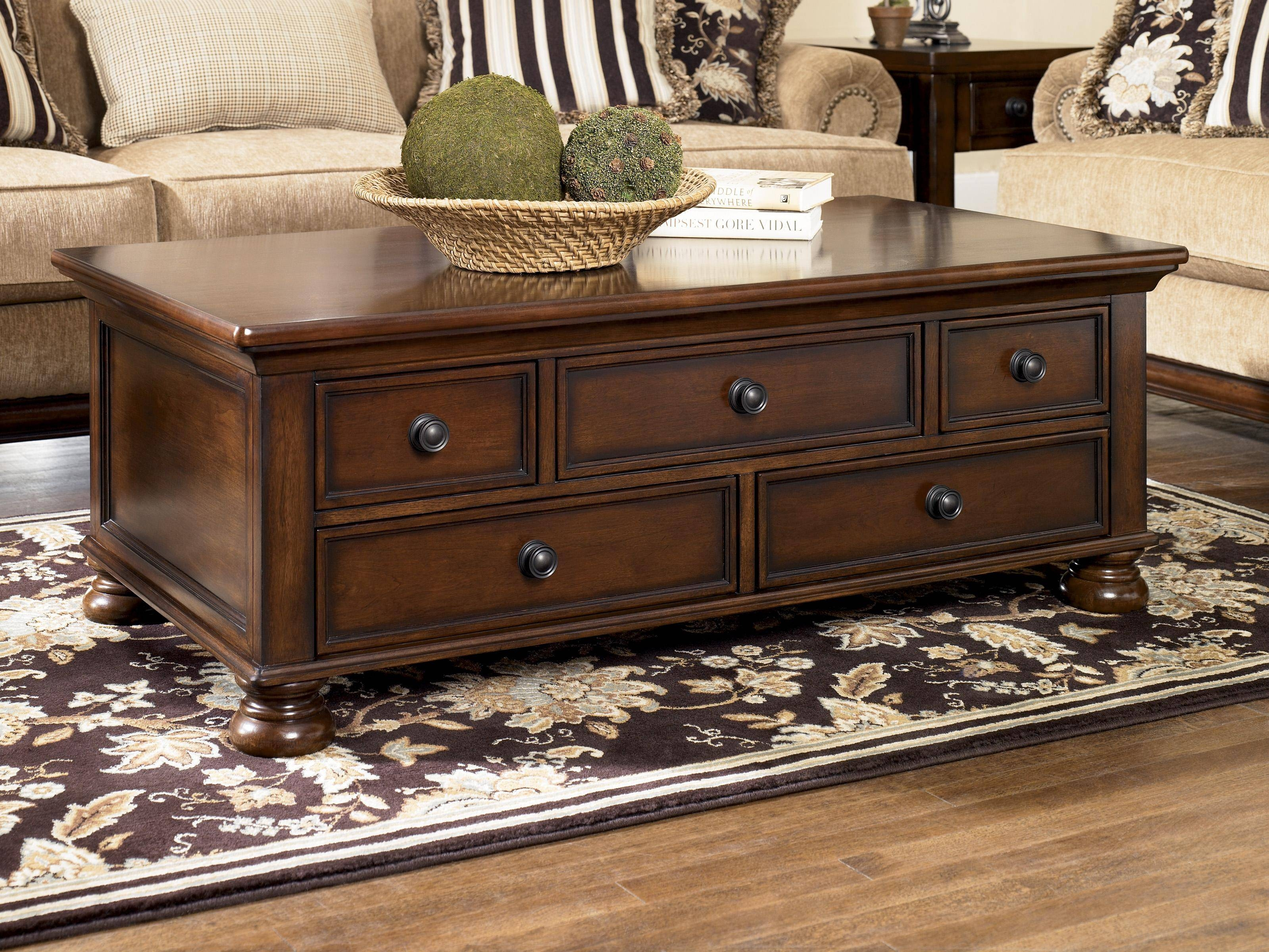 Signature Designashley Porter Storage Cocktail Table With 5 Pertaining To Dark Wood Chest Coffee Tables (View 7 of 30)