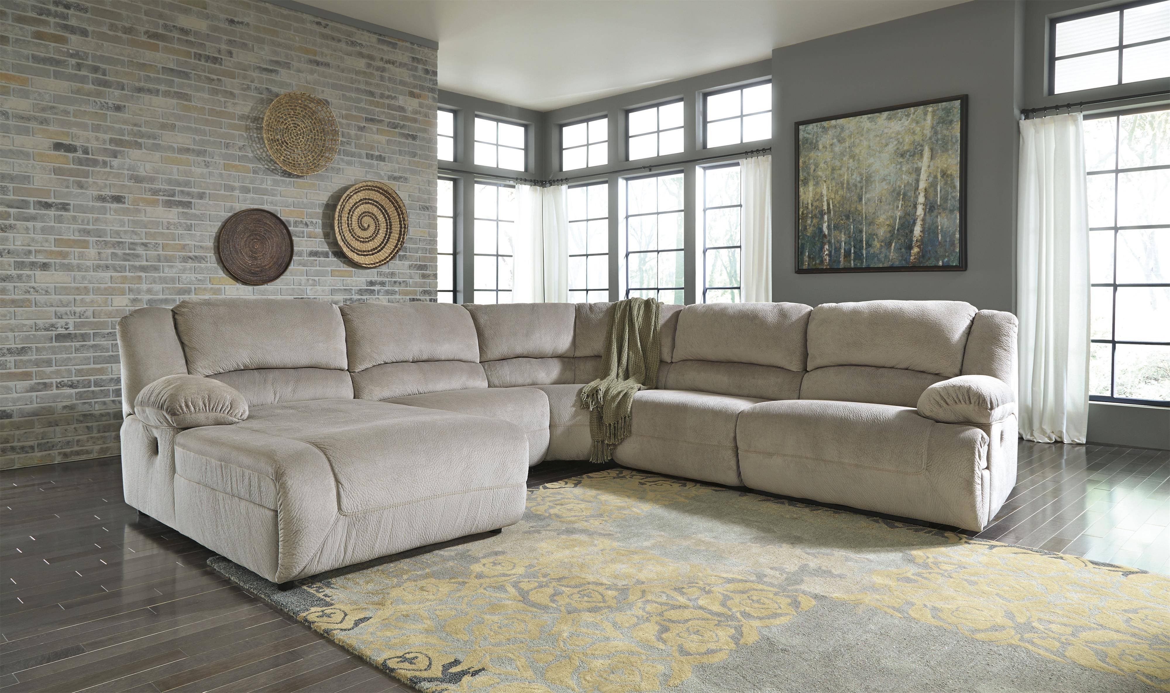 Signature Designashley Toletta - Granite Reclining Sectional for Sofa Back Console (Image 19 of 30)