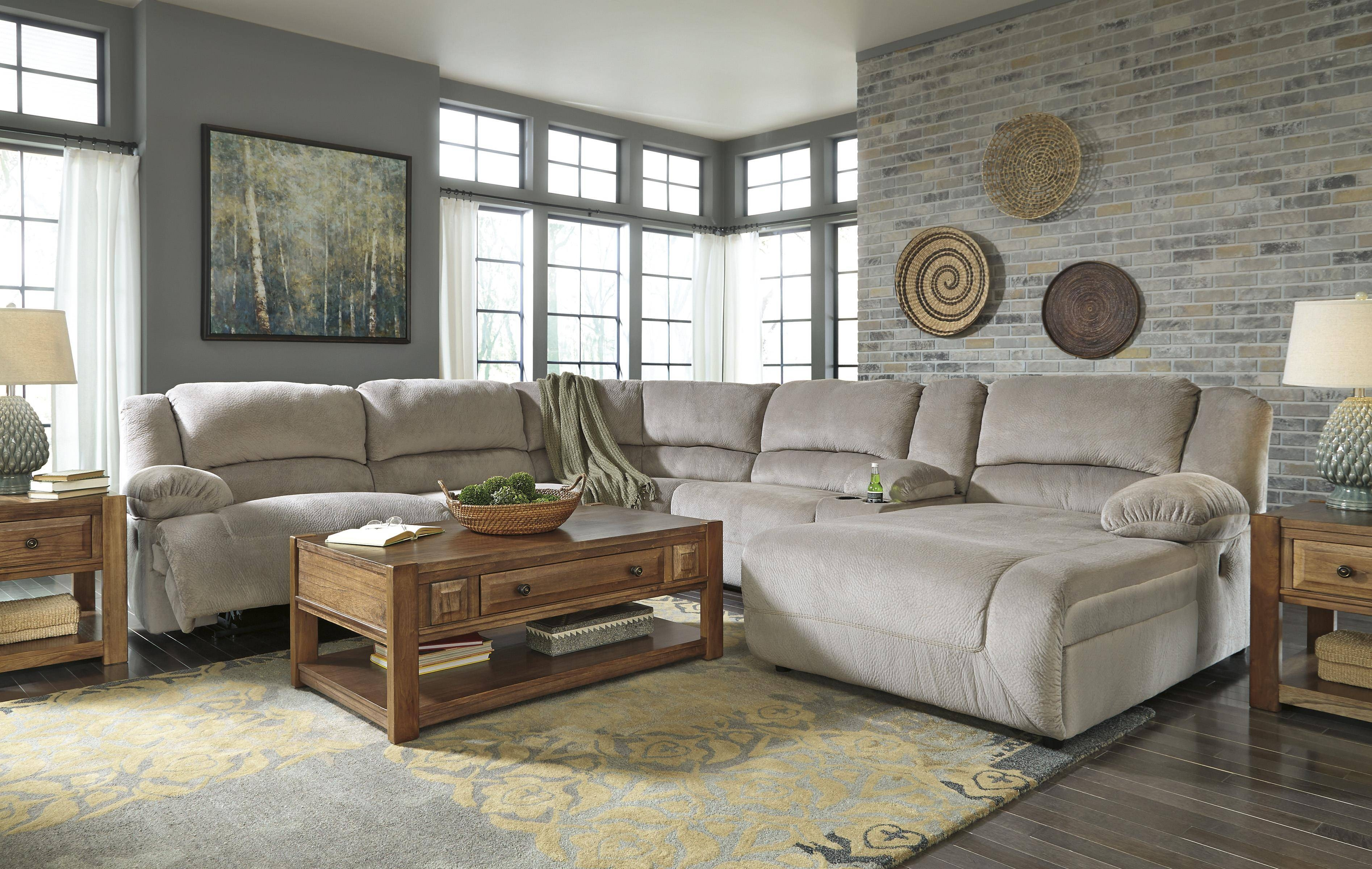 Signature Designashley Toletta - Granite Reclining Sectional with regard to Sofa Back Console (Image 20 of 30)