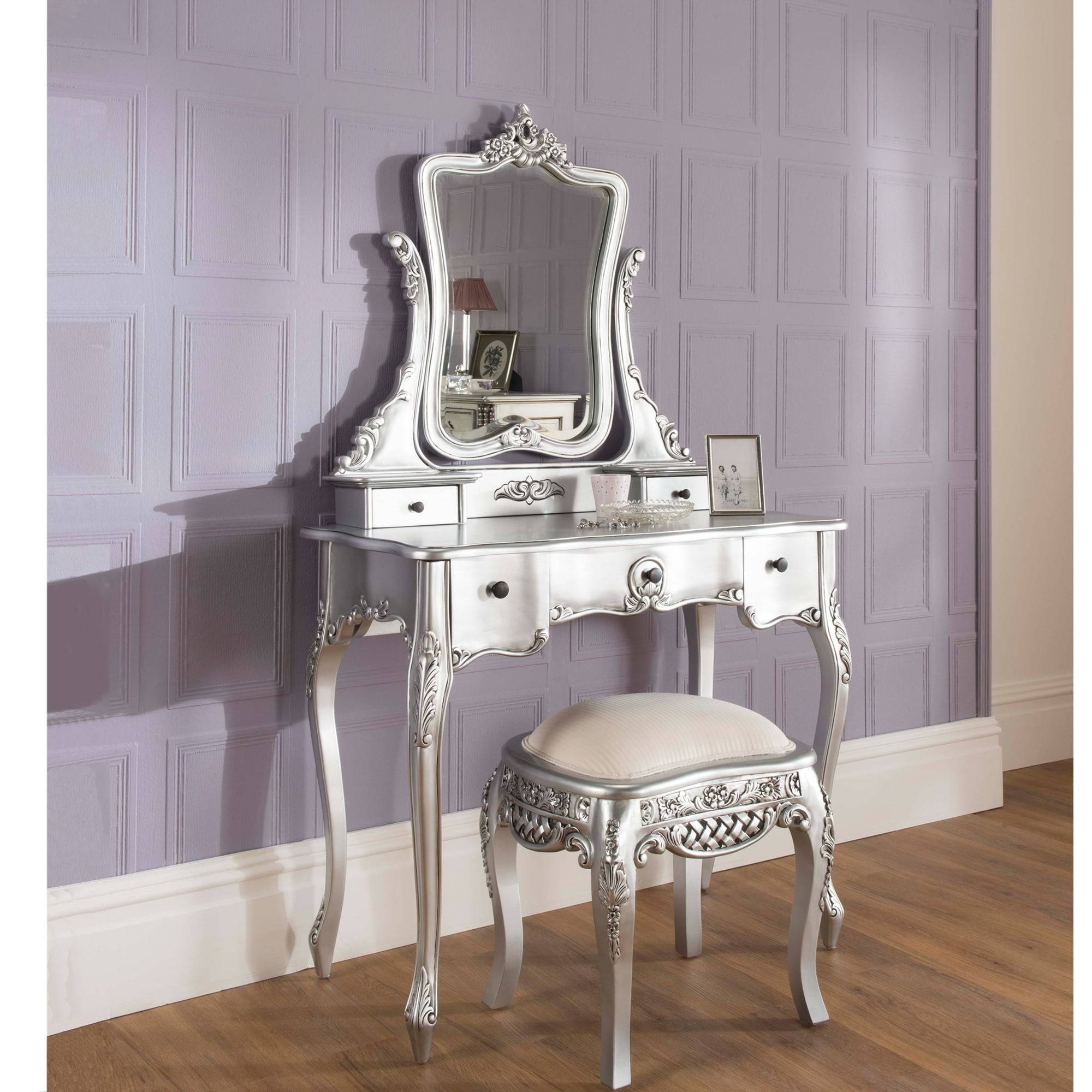 Silver Antique French Style Dressing Table Set within French Style Dressing Table Mirrors (Image 22 of 25)
