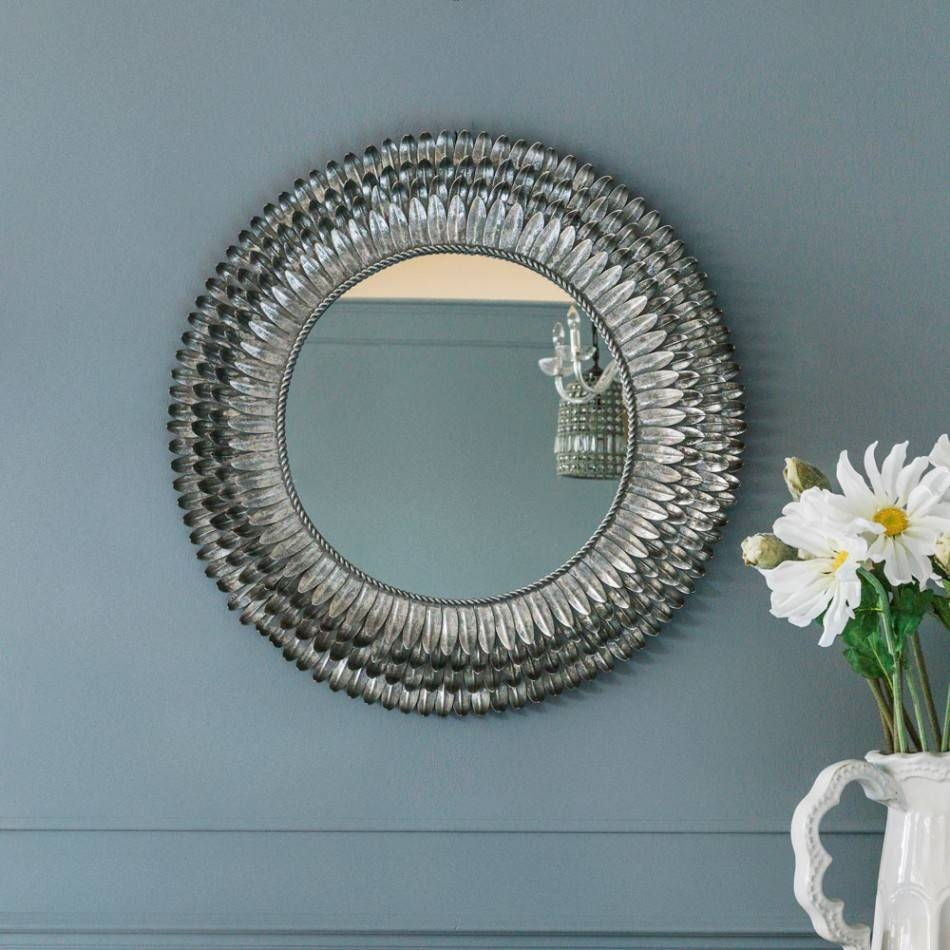 Silver Feather Mirror - Small | Mirrors | Graham And Green with Oval Silver Mirrors (Image 22 of 25)