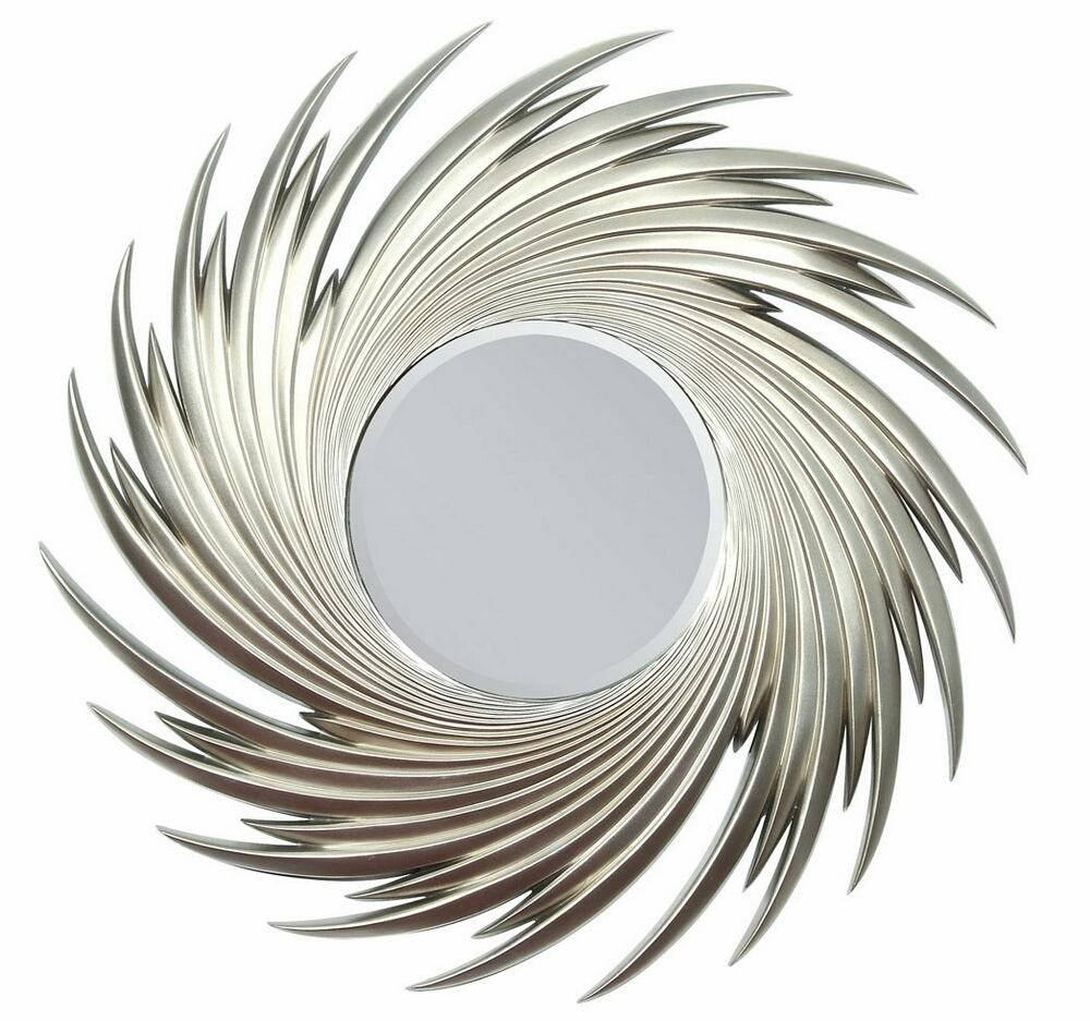 Silver Finish Swirl Sun with Sun Mirrors (Image 16 of 25)