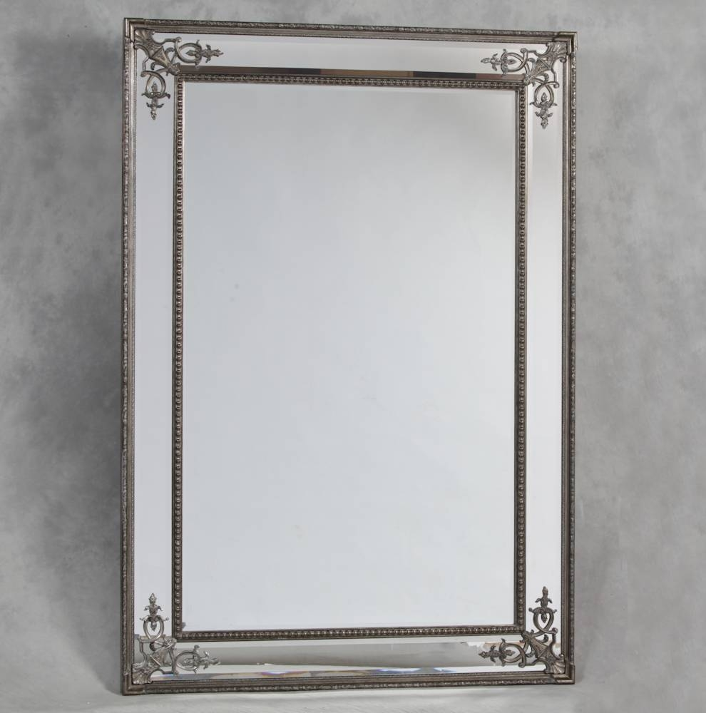 Silver French Style 'cimiero' Wall Mirror 192 X 134Cm Silver pertaining to Large French Style Mirrors (Image 24 of 25)