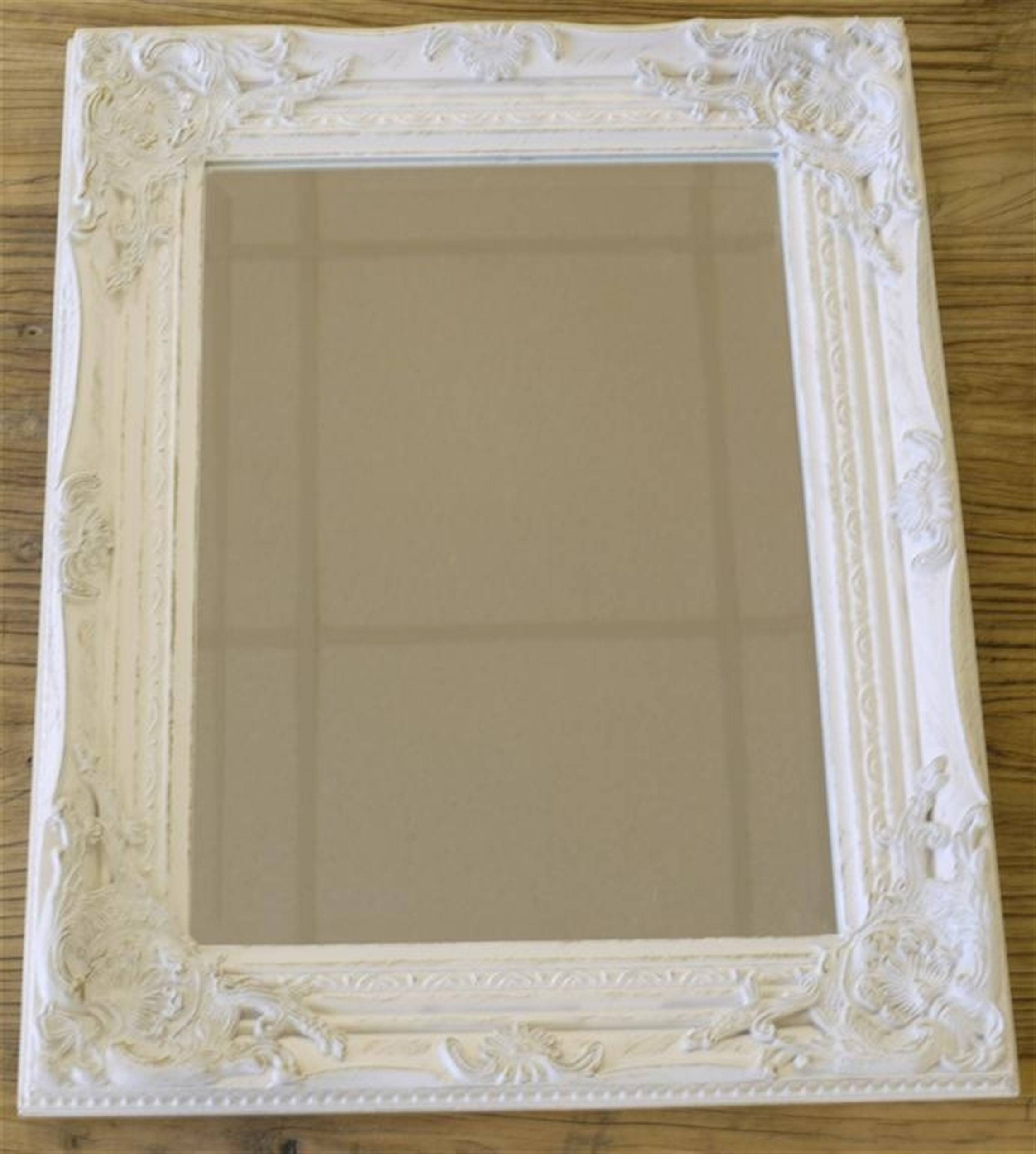 Silver Gilded Or White Shabby Chic Bathroom Hall Wall Small Mirror inside Distressed Silver Mirrors (Image 21 of 25)