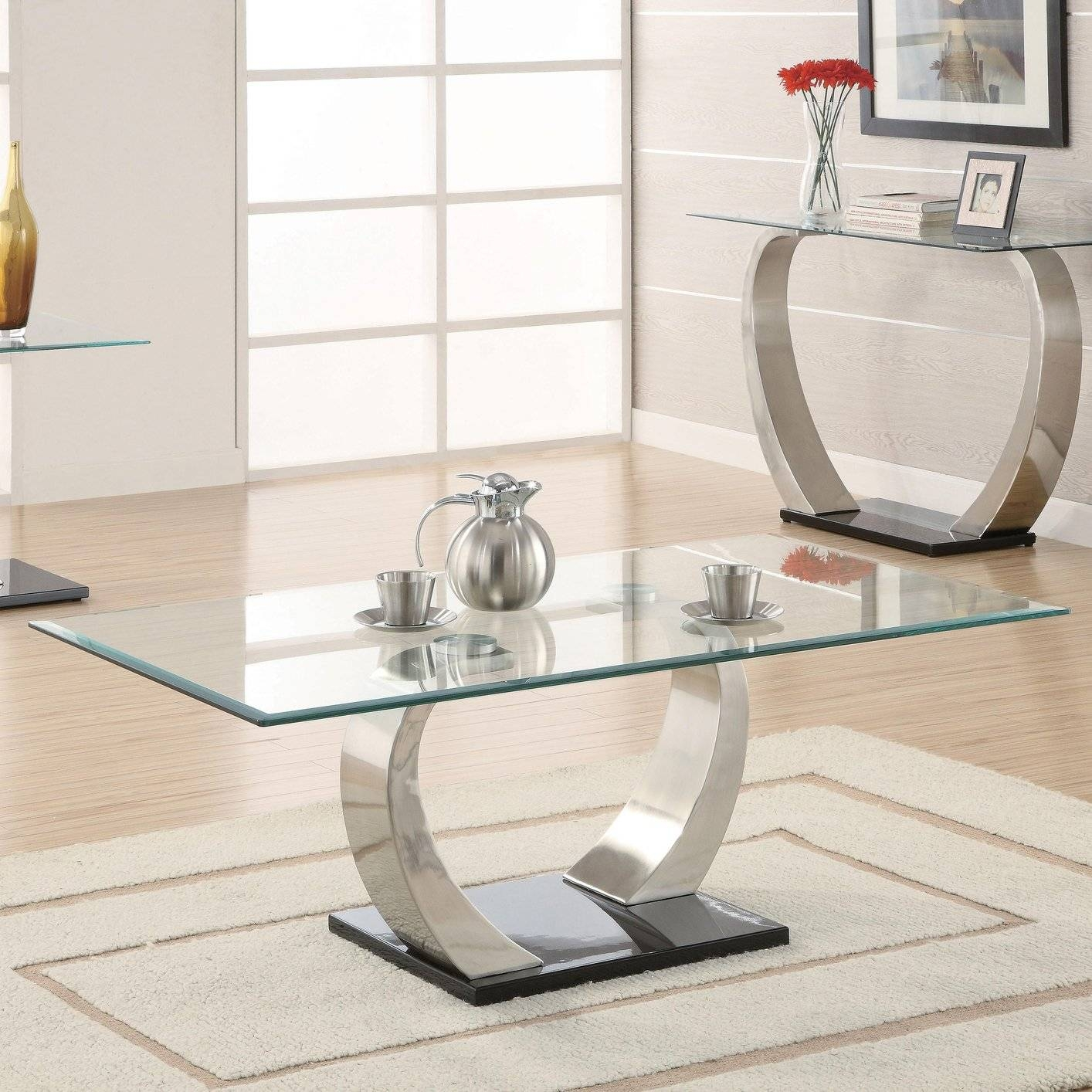 Silver Glass Coffee Table - Steal-A-Sofa Furniture Outlet Los throughout Curved Glass Coffee Tables (Image 25 of 30)