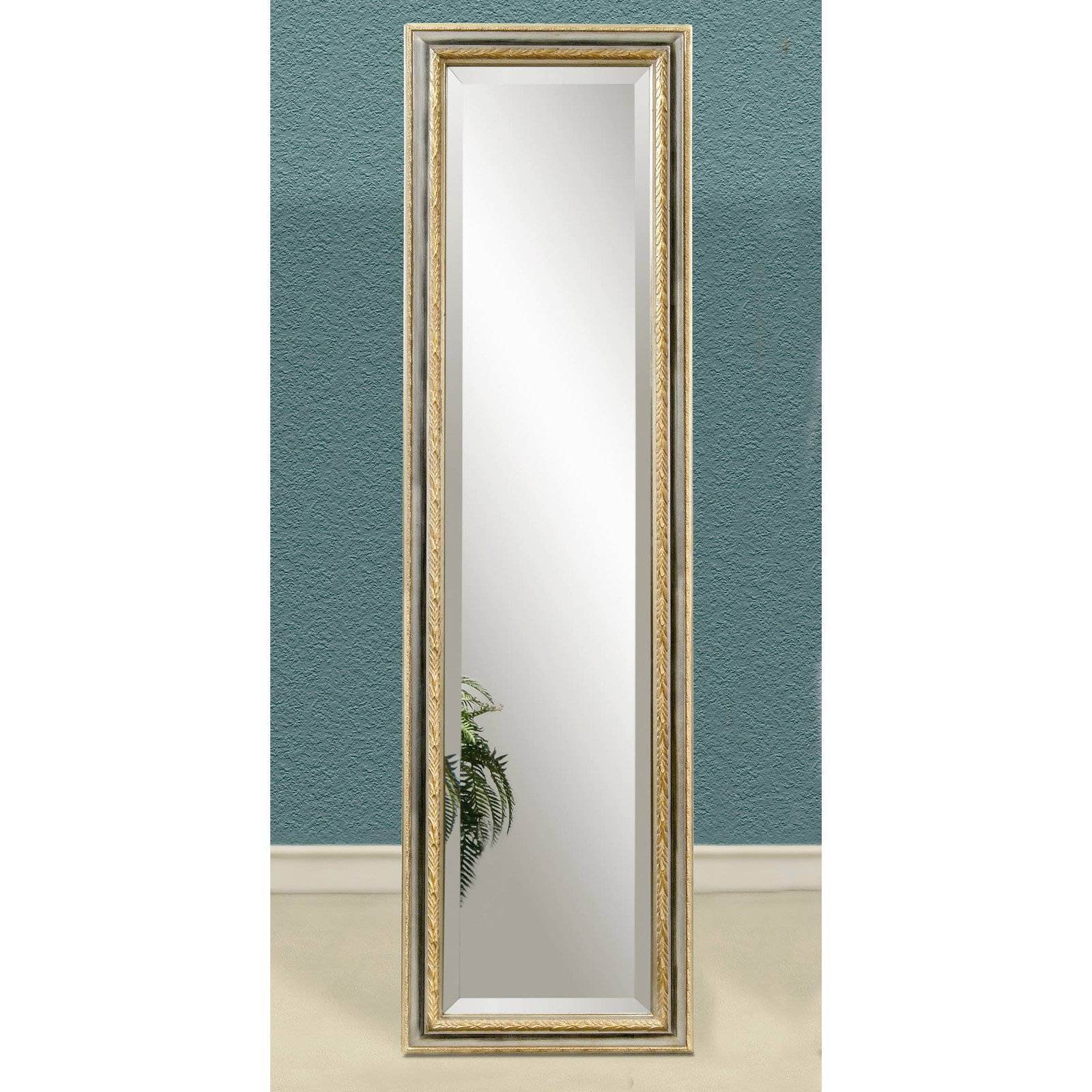 Silver & Gold Full Length Cheval Floor Mirror - 18W X 64H In regarding Silver Cheval Mirrors (Image 21 of 25)