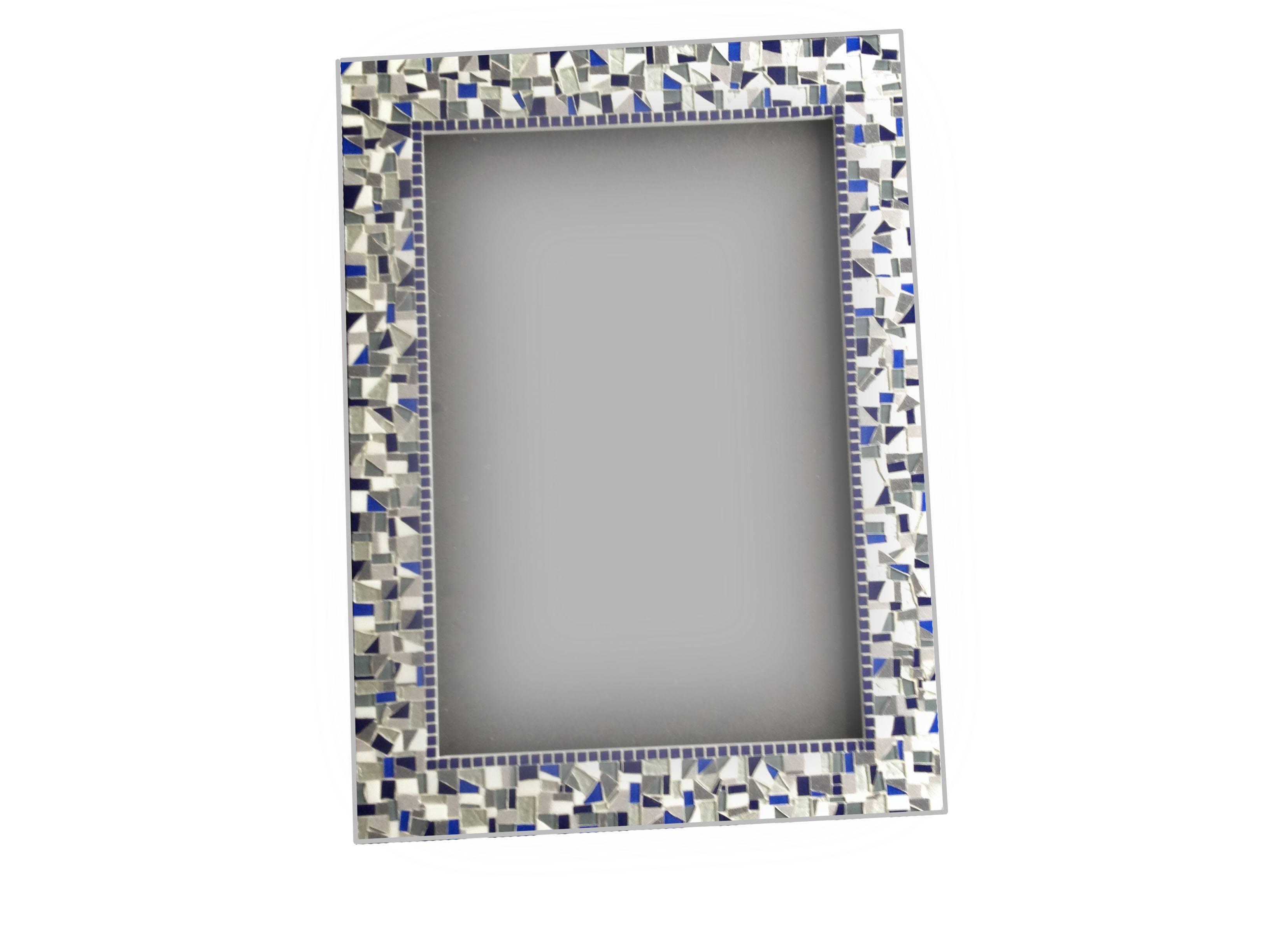 Silver Gray Navy Mosaic Wall Mirror - : in Mosaic Wall Mirrors (Image 24 of 25)