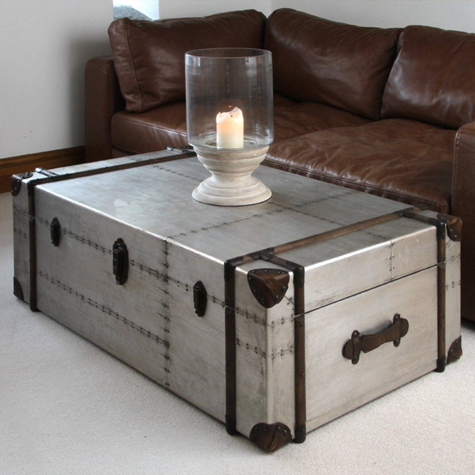 Silver Leaf Hardwood Trunk Style Table Chairish Tables Trunks regarding Silver Trunk Coffee Tables (Image 20 of 30)
