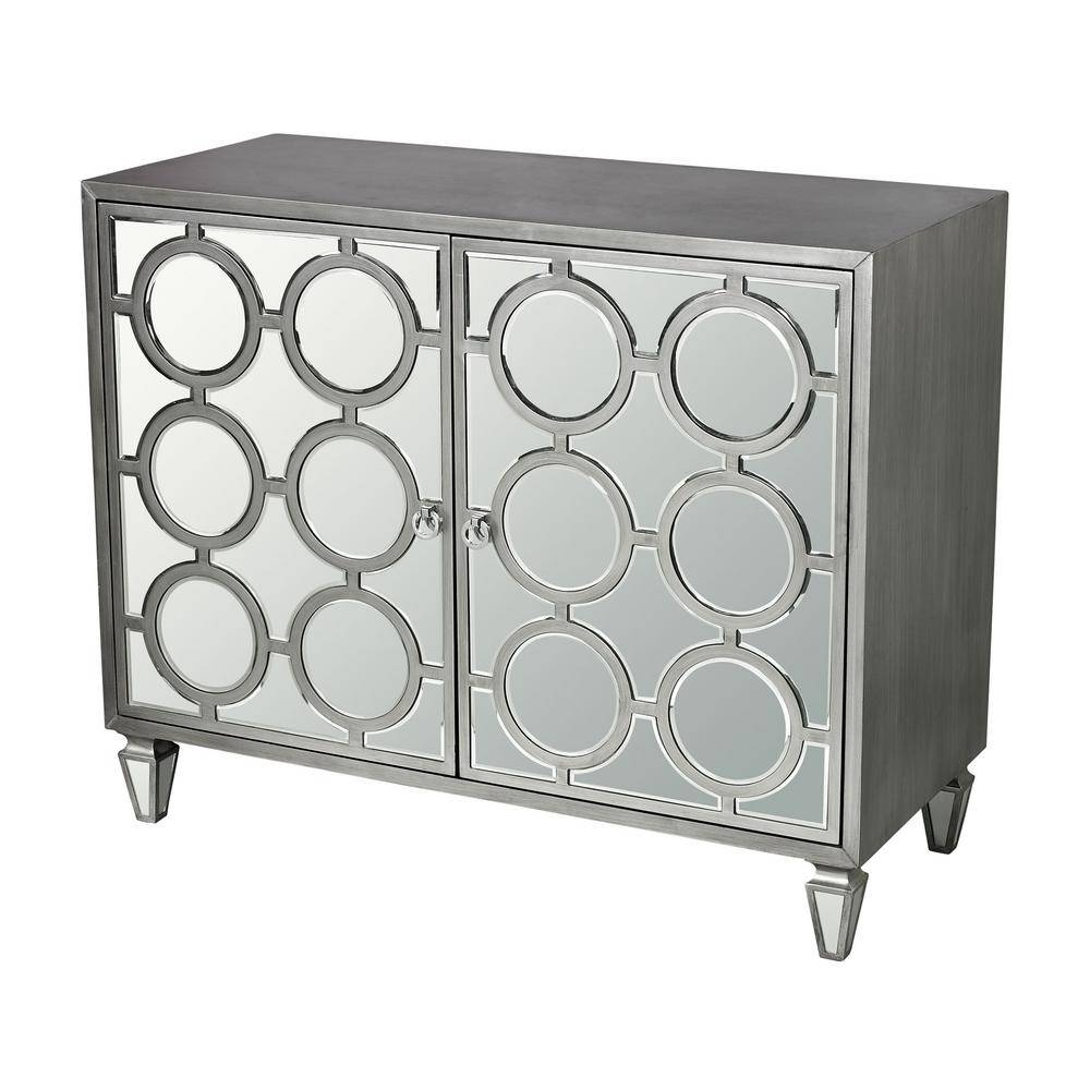 Silver Mirrored Storage Cabinet-Tn-892728 - The Home Depot inside White Mirrored Sideboards (Image 24 of 30)