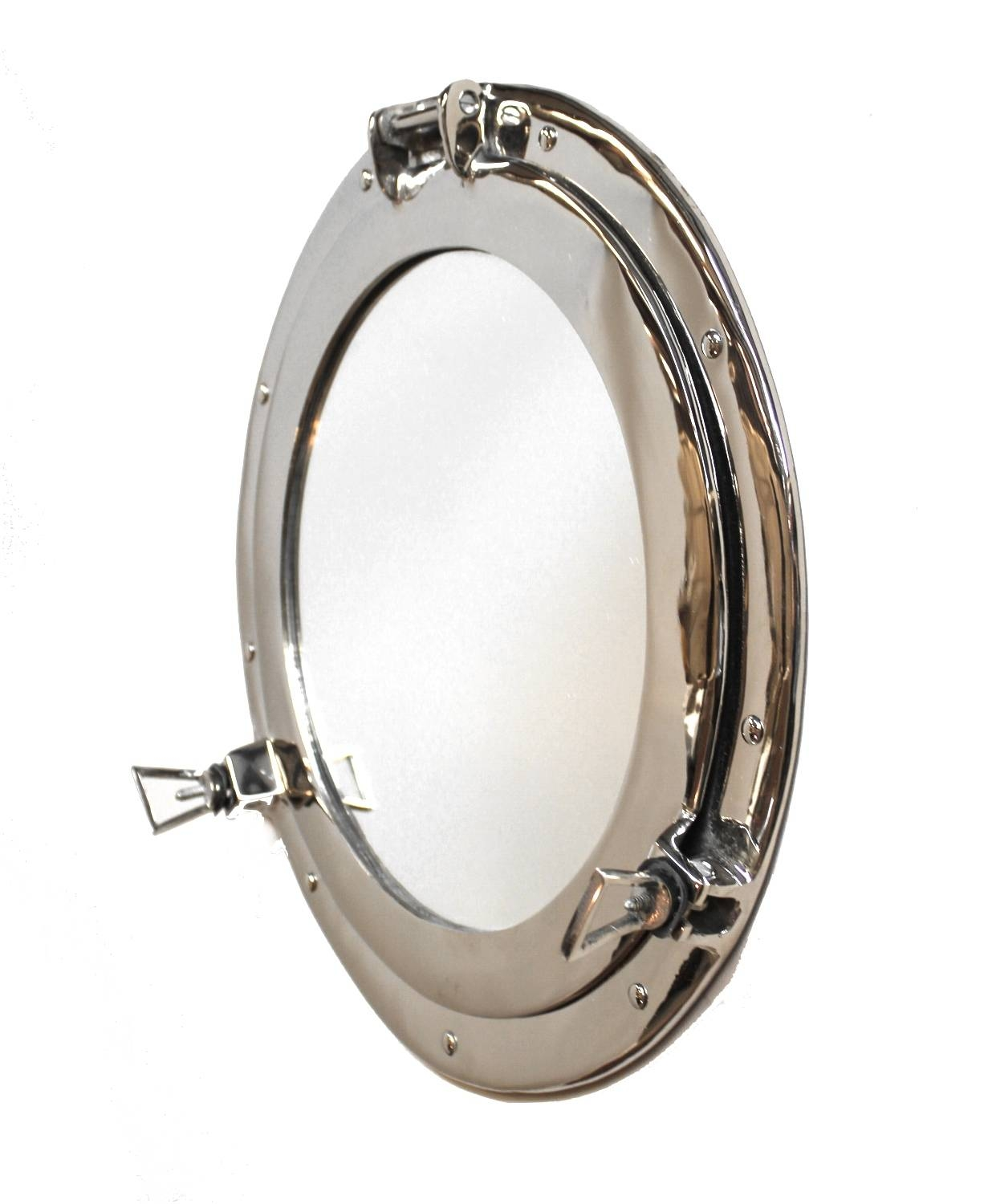 Silver Porthole Mirror Over Solid Brass High Quality Nickel Chrome Intended For Chrome Porthole Mirrors (View 24 of 25)