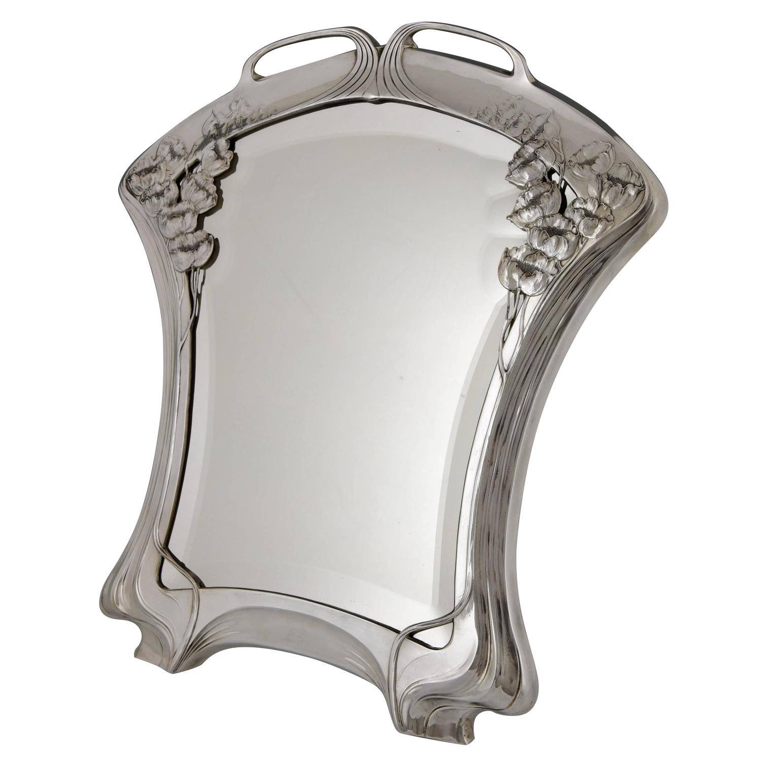 Silvered Art Nouveau Mirrororivit Beveled Glass, Germany 1904 with Art Nouveau Mirrors (Image 21 of 25)