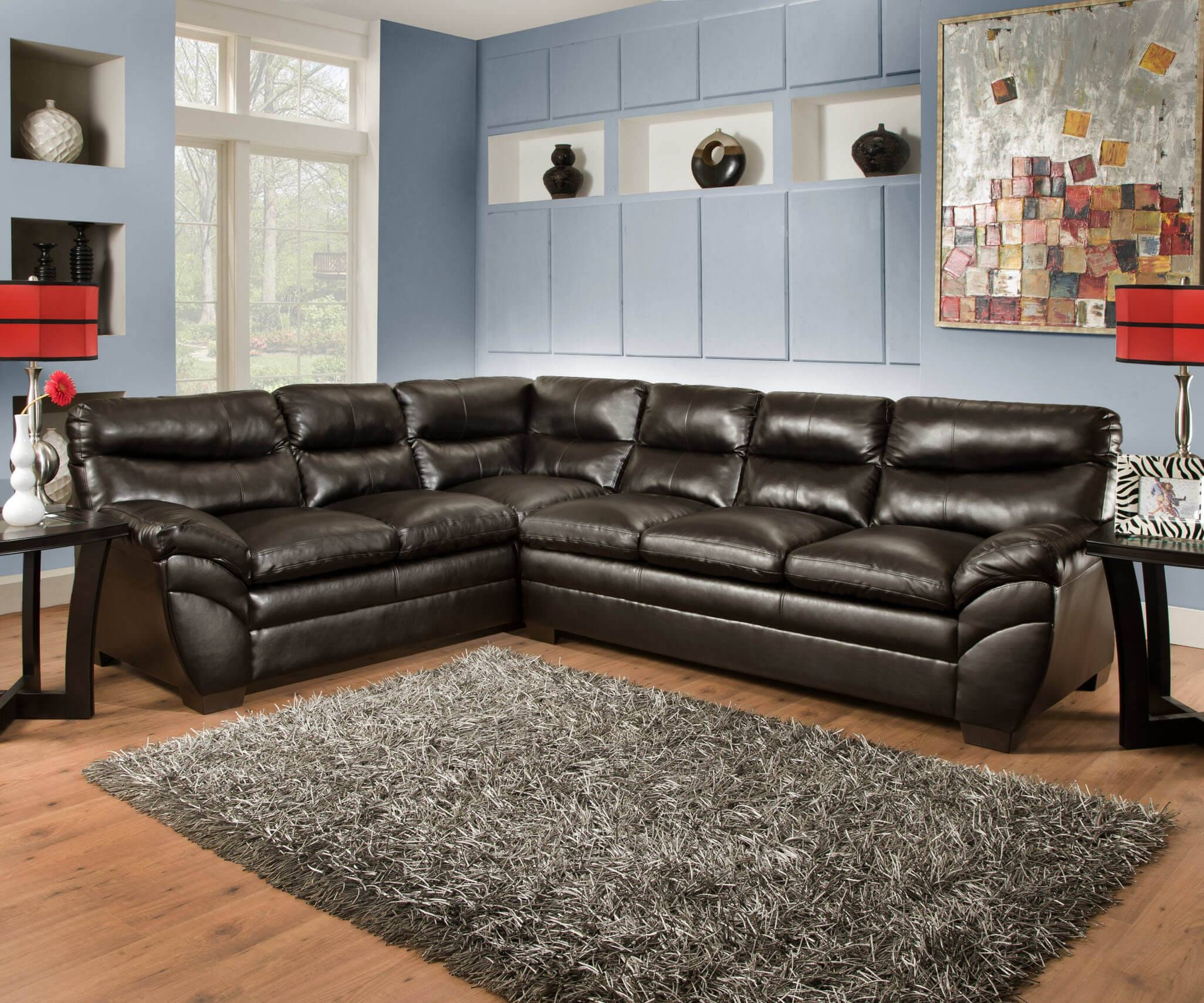 Simmon Soho Espresso Sectional | Sectional Sofa Sets in Simmons Sectional Sofas (Image 9 of 30)