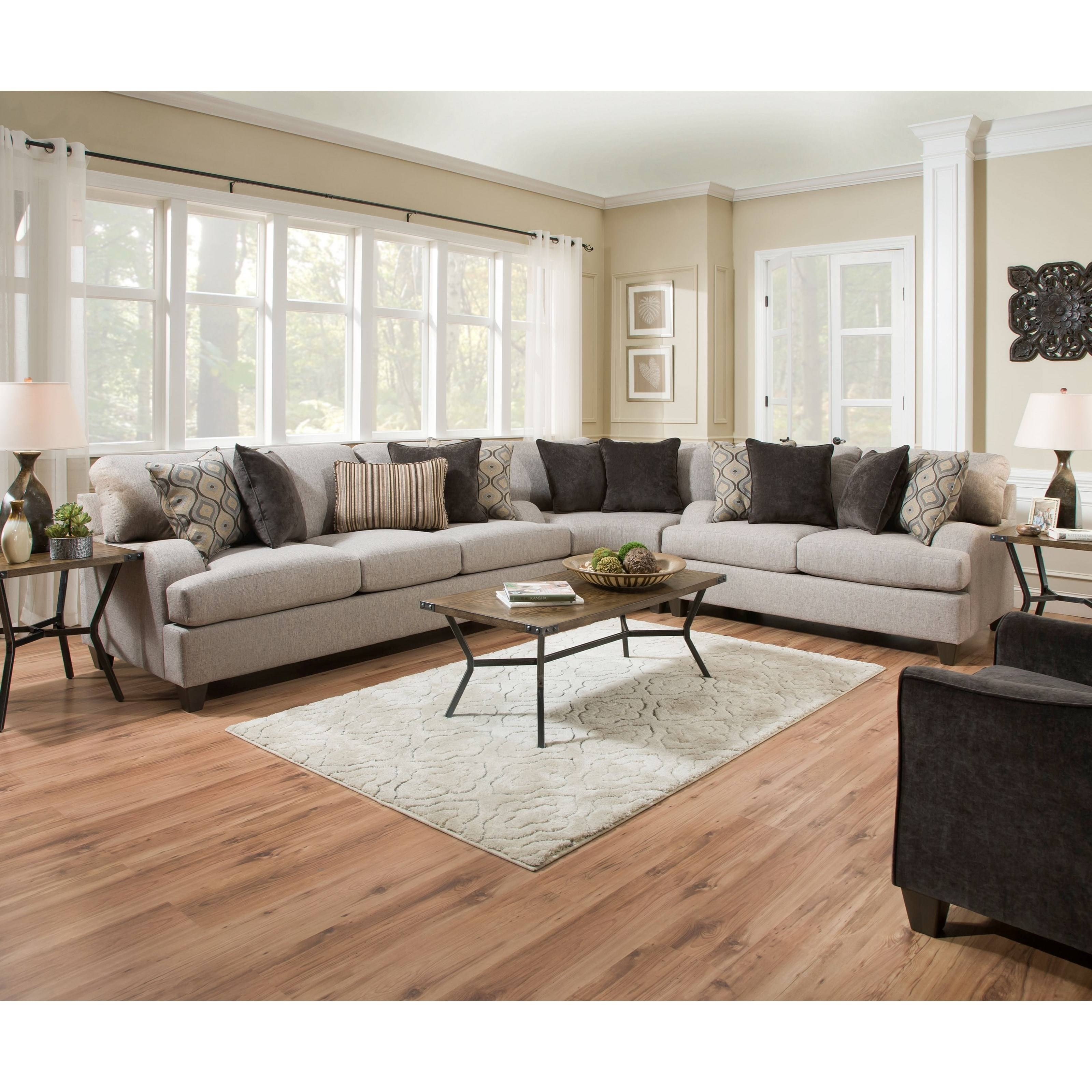 Simmons Upholstery 4002 Transitional Sectional Sofa - Royal within Simmons Sectional Sofas (Image 18 of 30)