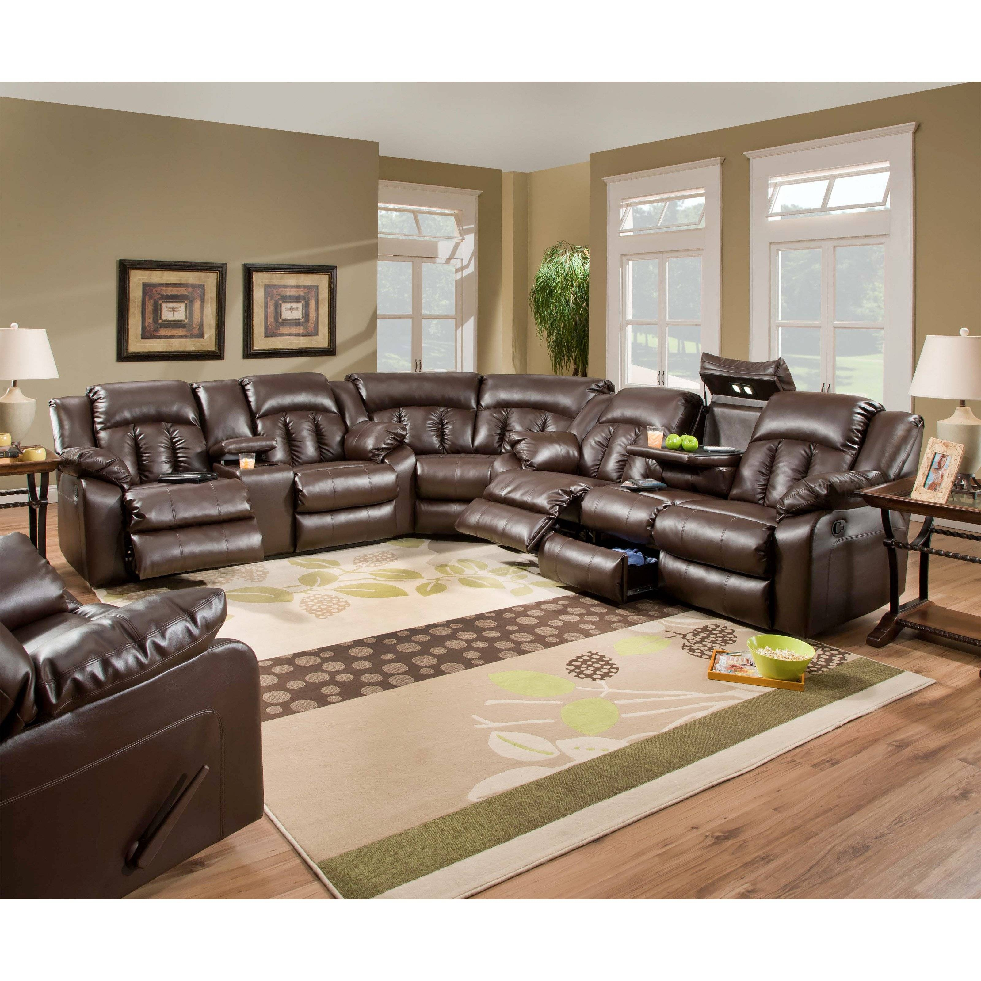 Simmons Upholstery Sebring Bonded Leather Sectional | Hayneedle with regard to Simmons Sectional Sofas (Image 23 of 30)