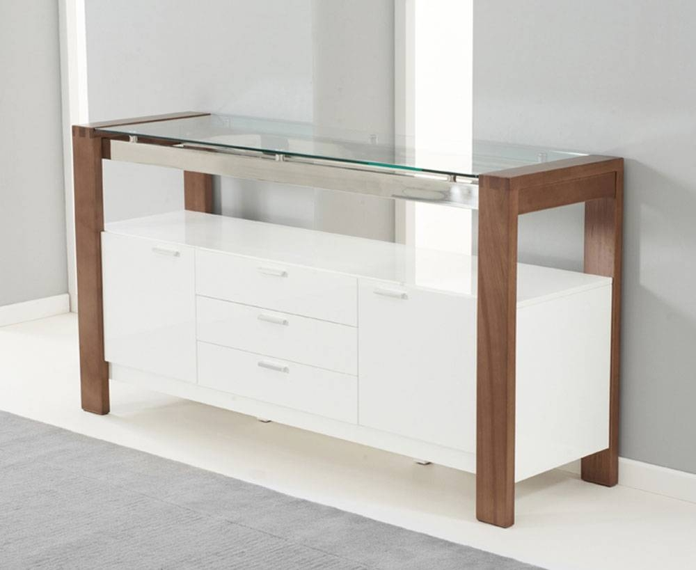 Simone Walnut & White Gloss Sideboard | Oak Furniture Solutions regarding Gloss White Sideboards (Image 25 of 30)