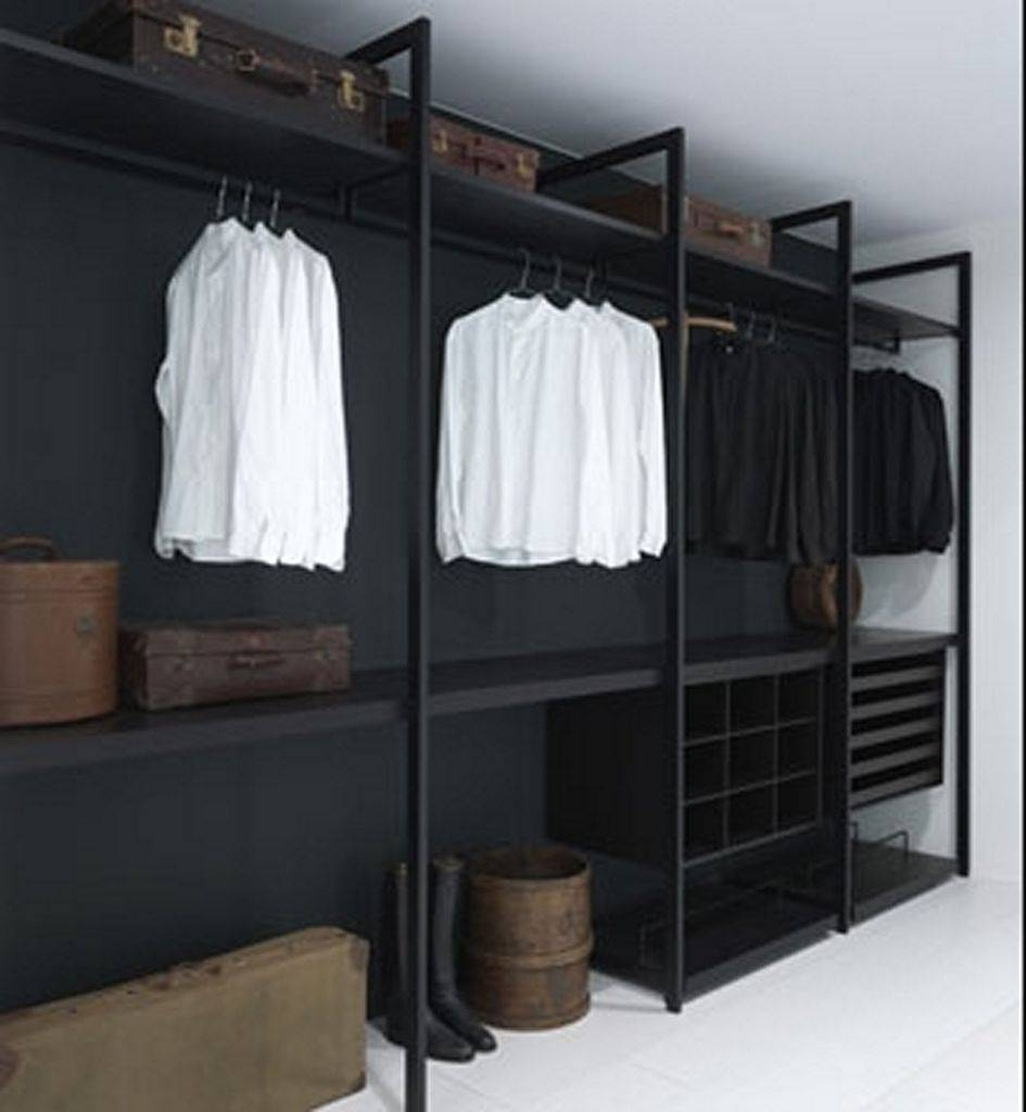 Simple Bedroom With Black Wardrobe Closet With Armoire Black inside Dark Wood Wardrobe Closet (Image 21 of 30)