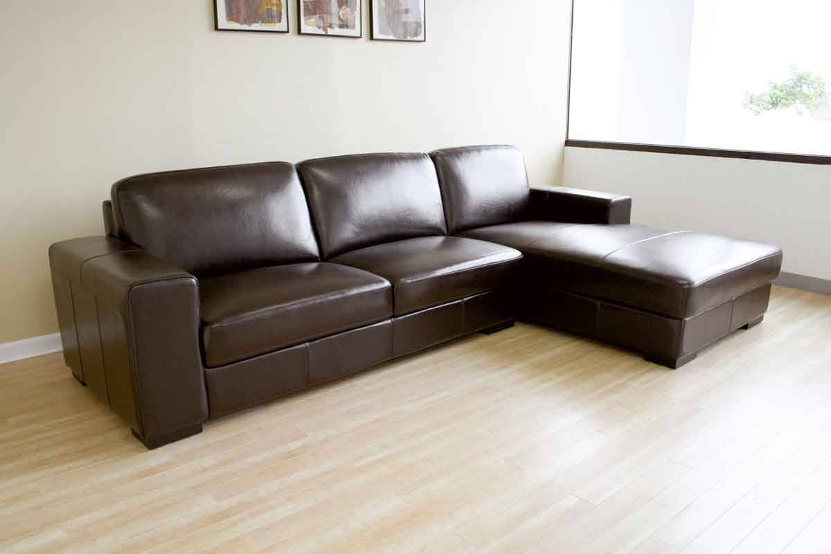 Simple Design Living Room With Encore Brown Leather Sectional Sofa with regard to Sleek Sectional Sofa (Image 18 of 25)