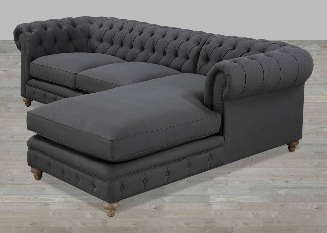 Simple Gray Tufted Sectional Sofa 63 In Down Filled Sectional intended for Down Filled Sectional Sofas (Image 20 of 30)