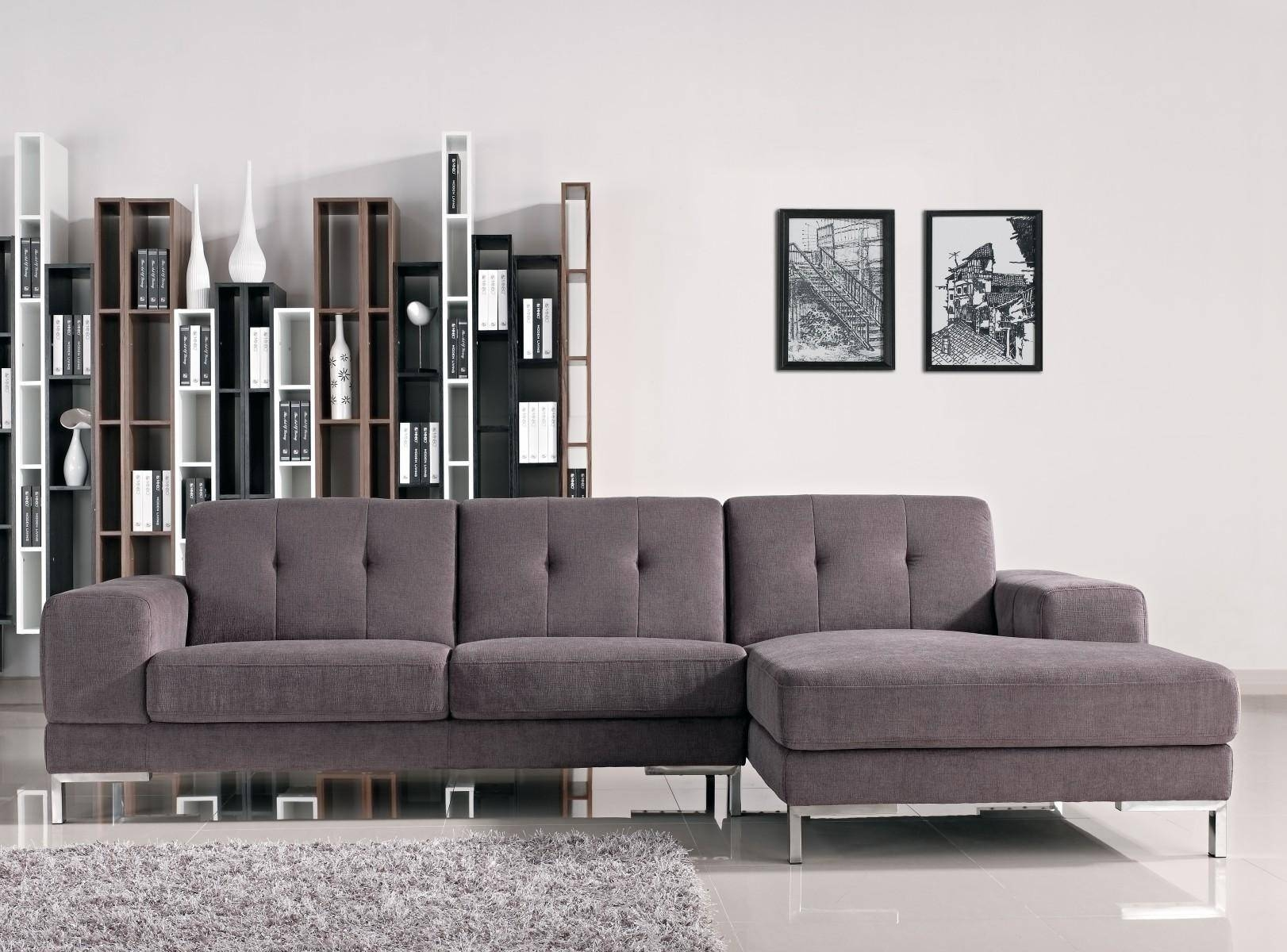 Simple Modern Living Room Decoration With Dark Gray Tufted with Tufted Sectional Sofa With Chaise (Image 16 of 30)
