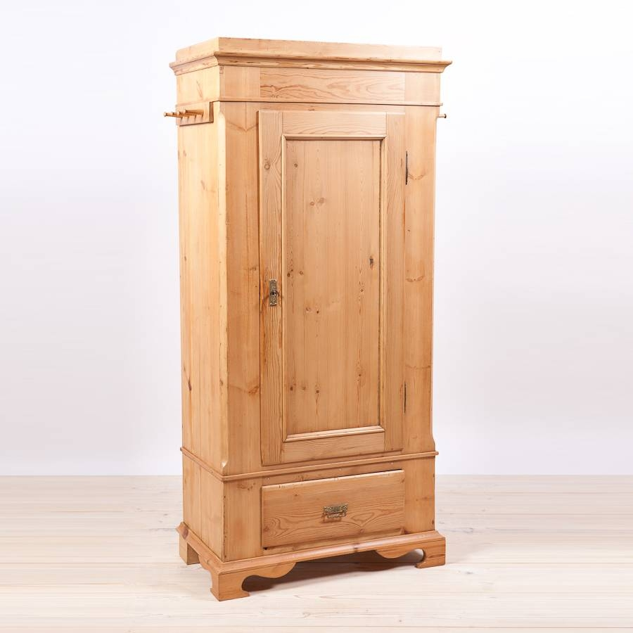 Single Door Danish Wardrobe Armoire In Pine, C. 1845 - Bonnin with Antique Single Wardrobes (Image 11 of 15)