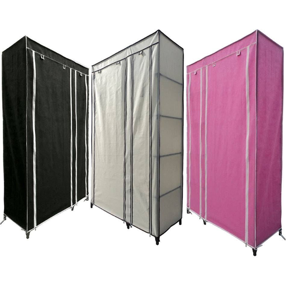 Single / Double Canvas Wardrobe Rail Clothes Storage With Zip within Double Rail Canvas Wardrobes (Image 22 of 30)