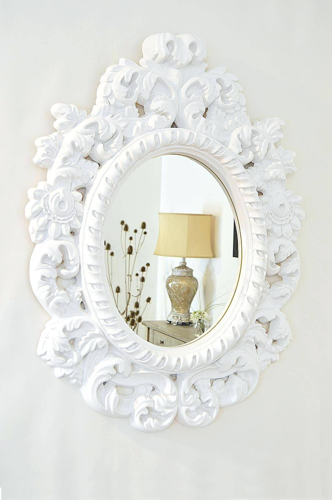 Sita French Country White Washed Antique Mirror Side Table Kathy in White Antique Mirrors (Image 24 of 25)