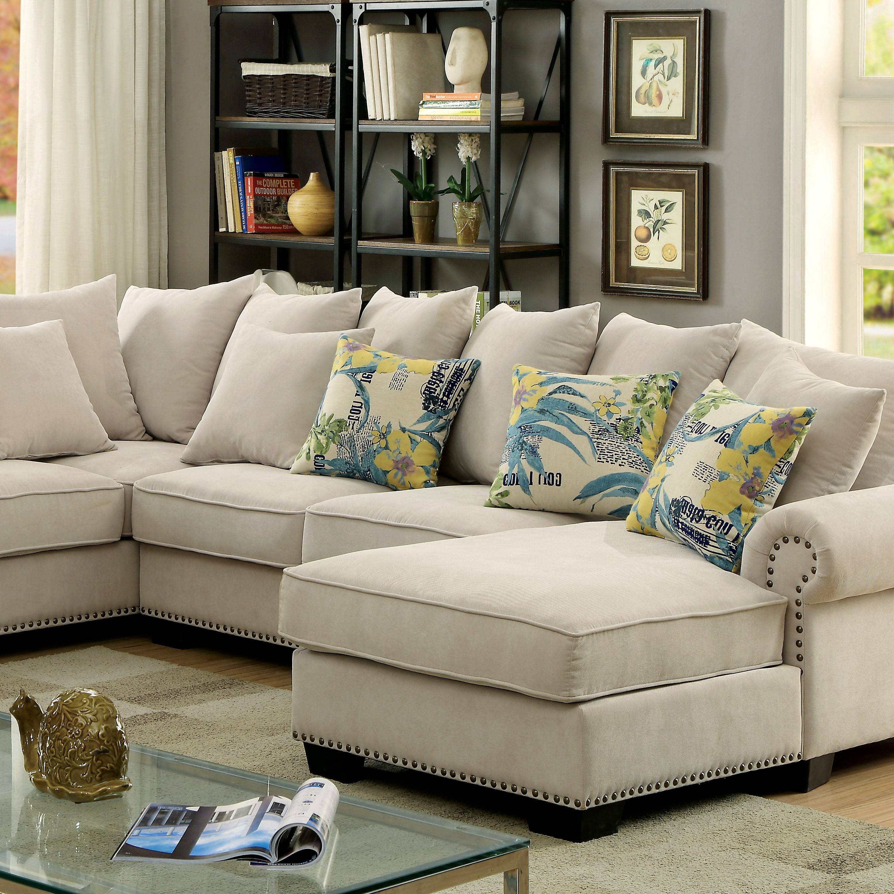 Skyler Transitional Ivory Fabric Sectional Sofa Couch intended for Fabric Sectional Sofa (Image 27 of 30)
