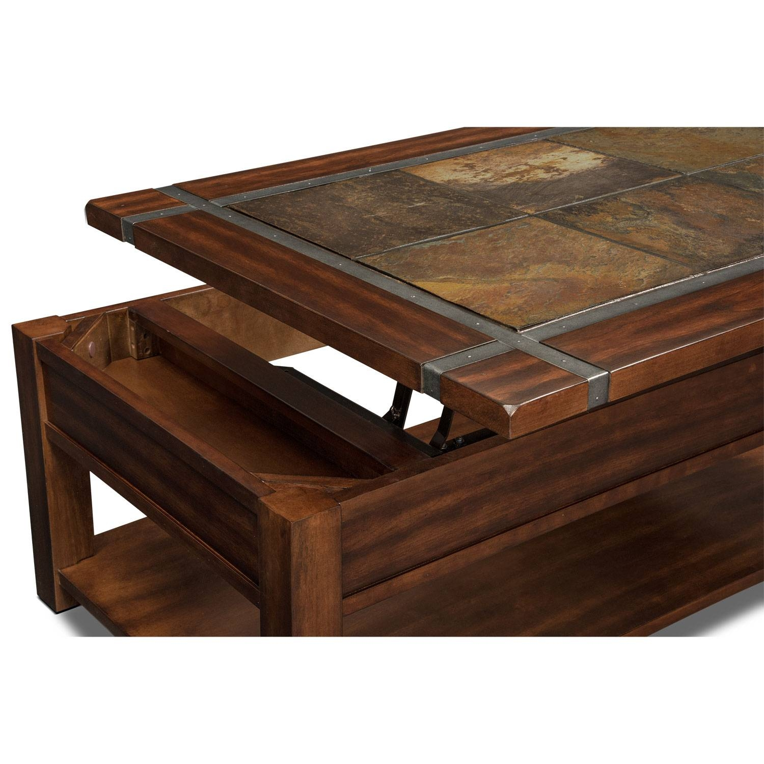 Slate Ridge Lift-Top Cocktail Table - Cherry | Value City Furniture for Flip Top Coffee Tables (Image 23 of 30)