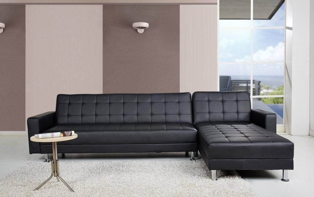 Sleeper Sectional Sofas You'll Love | Wayfair for Black Leather Sectional Sleeper Sofas (Image 23 of 30)