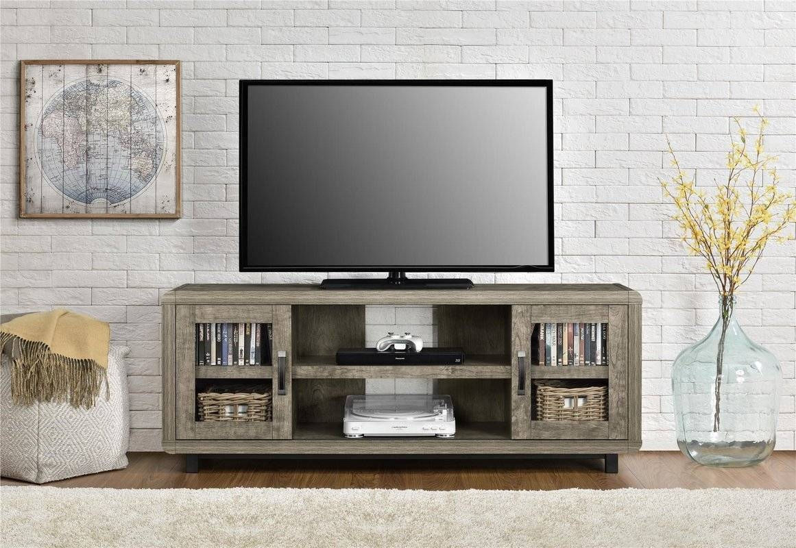 Sliding Barn Door Tv Stand | Wayfair pertaining to Rustic Coffee Tables And Tv Stands (Image 17 of 30)
