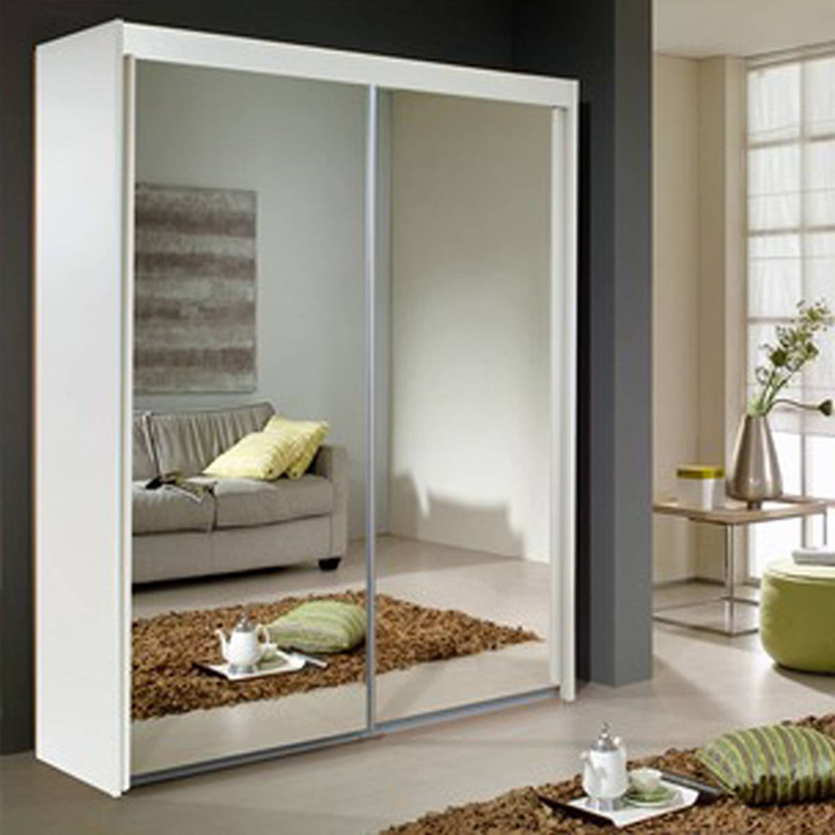 Sliding Door Mirrored Wardrobe From The House Of Reeves Croydon with regard to White Mirrored Wardrobes (Image 9 of 15)