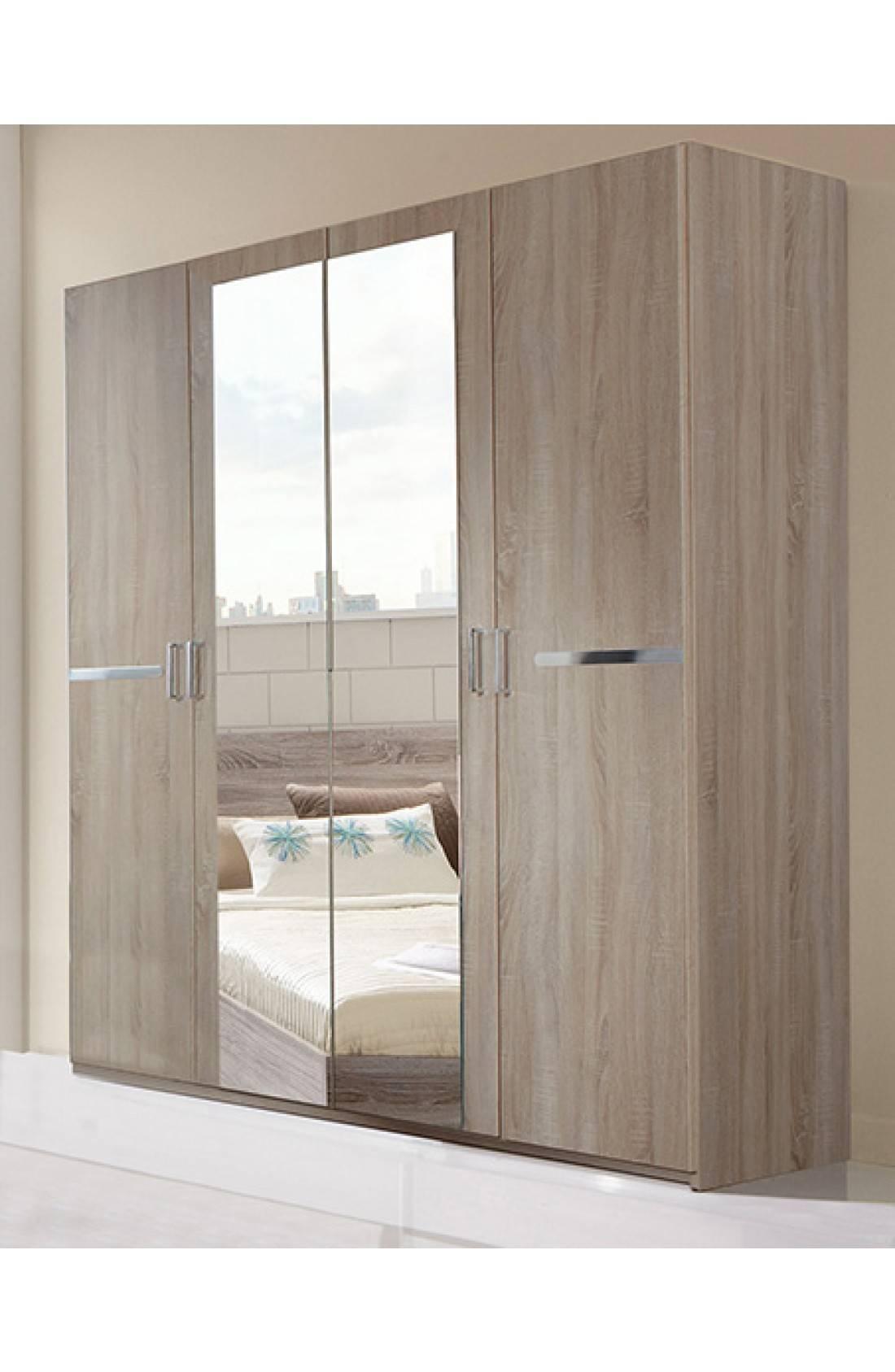 Slumberhaus 'anna' Modern Light Oak 180Cm 4 Door Wardrobe within 4 Door Wardrobes (Image 14 of 15)