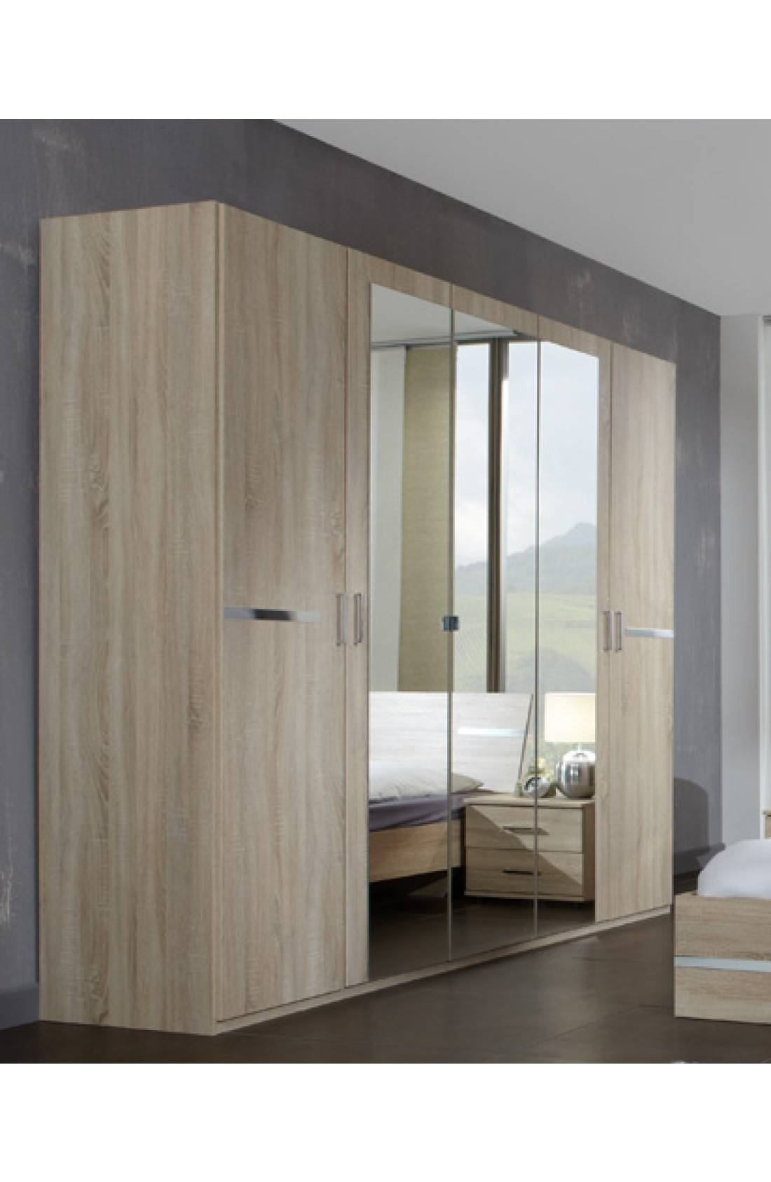 Slumberhaus 'anna' Modern Light Oak 225Cm 5 Door Wardrobe with regard to 5 Door Mirrored Wardrobes (Image 15 of 15)